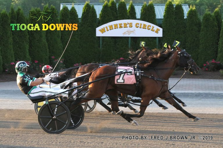 JK Mardi Says won the first of two divisions of the Tompkins-Geer for 3-year-old fillies. Fred Brown Photo.