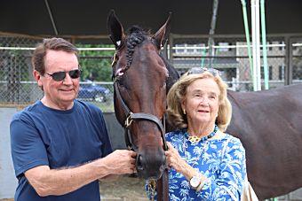Driver Jan Johnson and owner/breeder Caroline Gerry with Higher Call. USTA/Ken Weingartner Photo