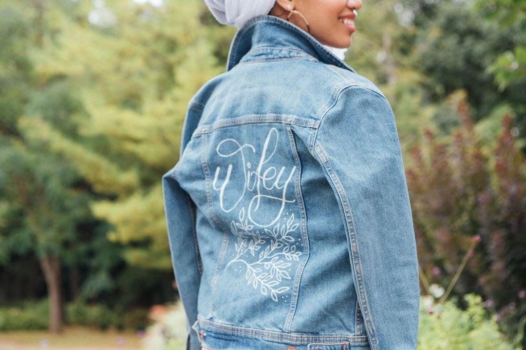 Calligraphy on denim jacket