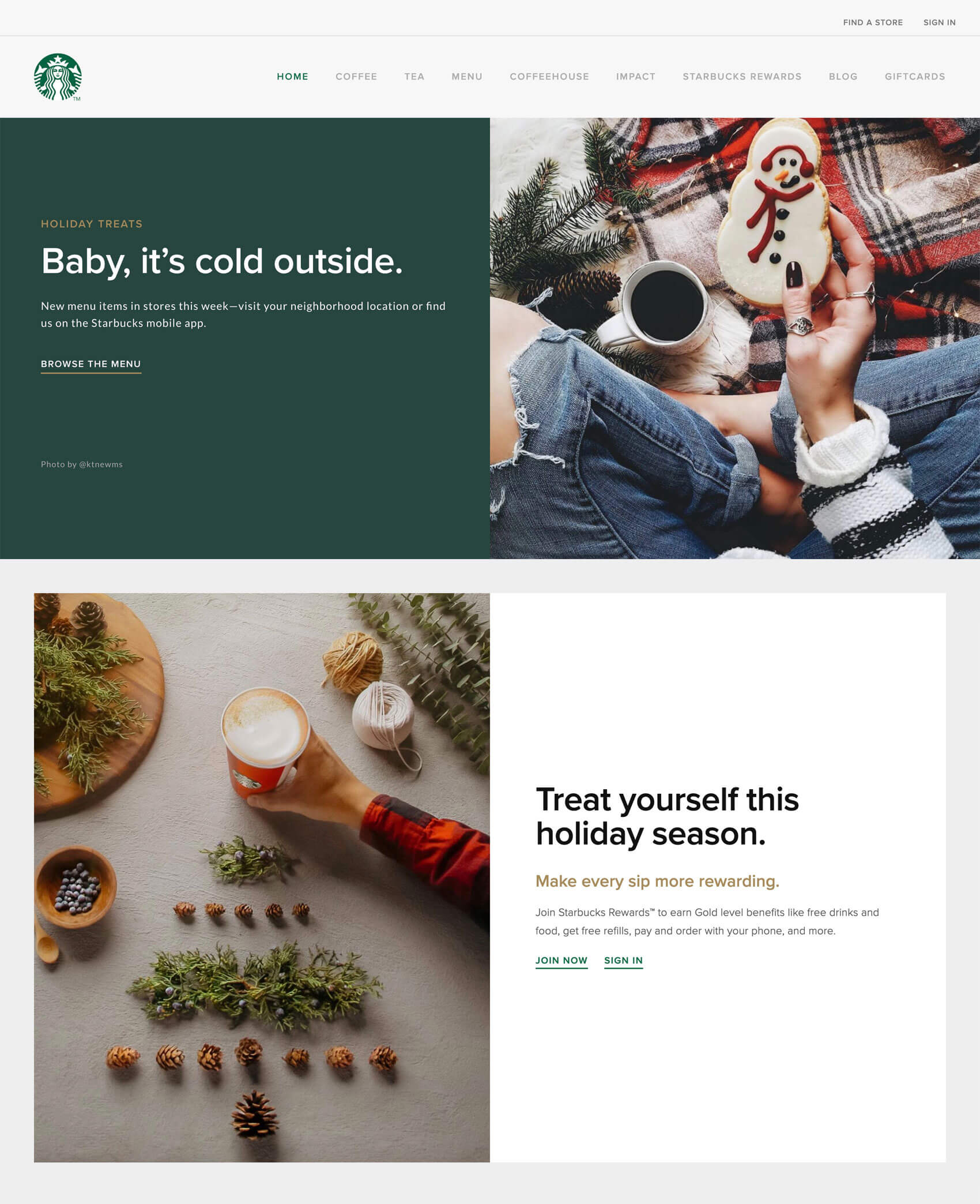 Starbucks concept website screenshot