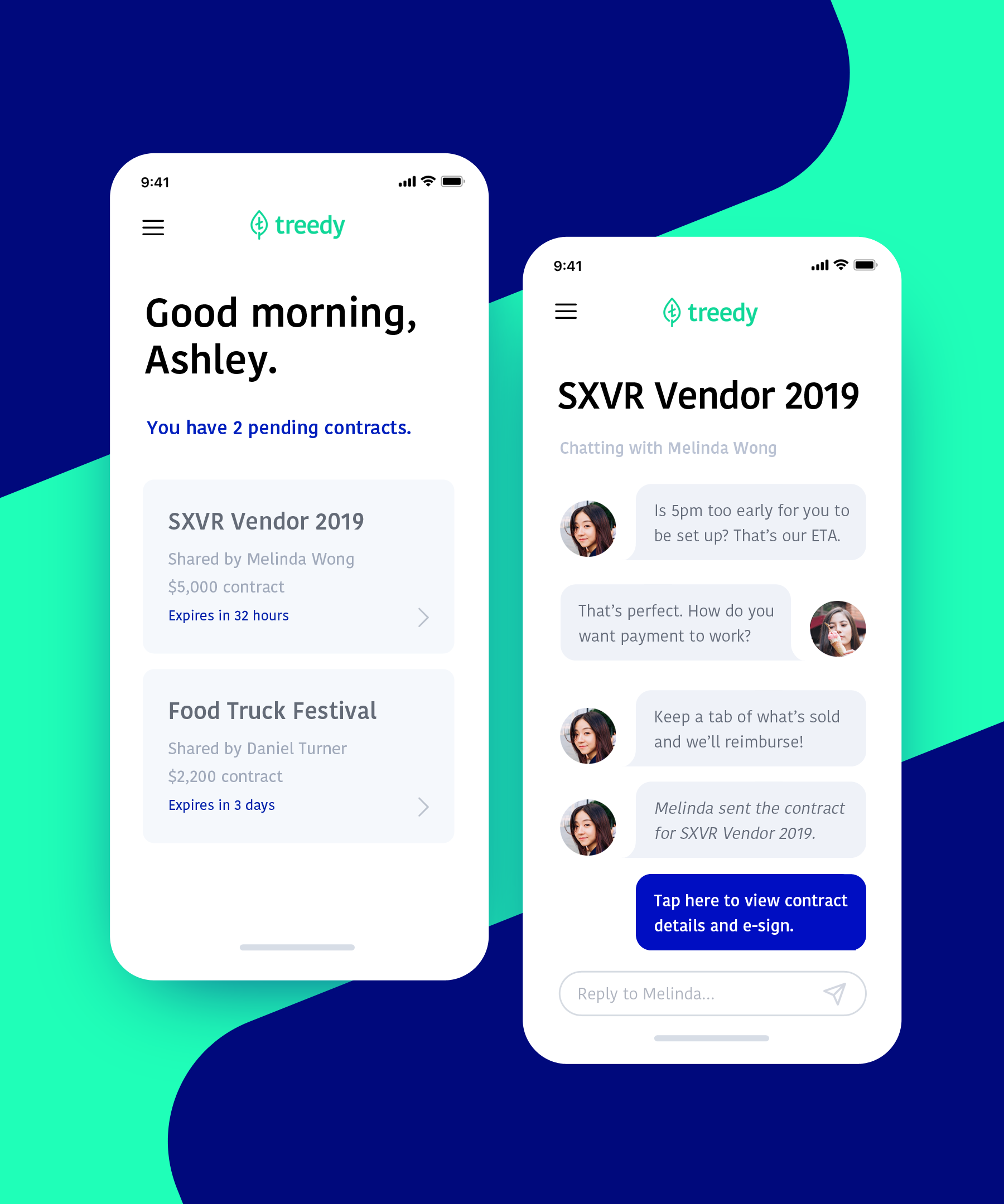 Interface for online contractsTreedy Mobile - The Treedy mobile interface kept brand colors at the forefront without cluttering the user's experience. Lots of white space helps clients feel like they have breathing room—an important feature in financial app environments.