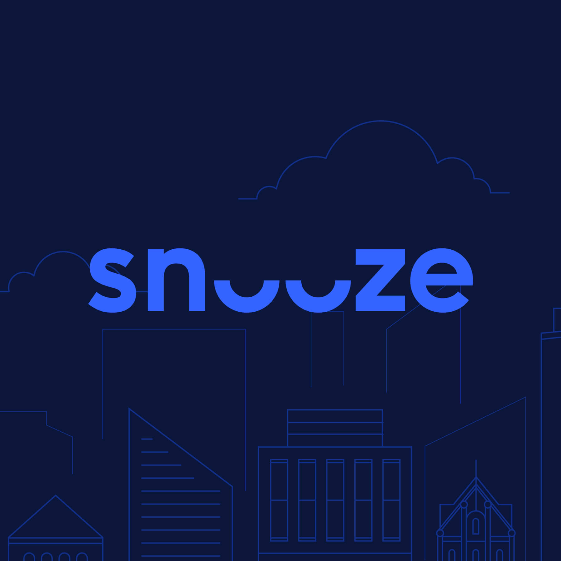 With our eyes closedLogo Development - We played with the image of closed eyes in Snooze's iconic lowercase logo. A bright purple pops against this sleepy dark navy, bringing nighttime into the spotlight.
