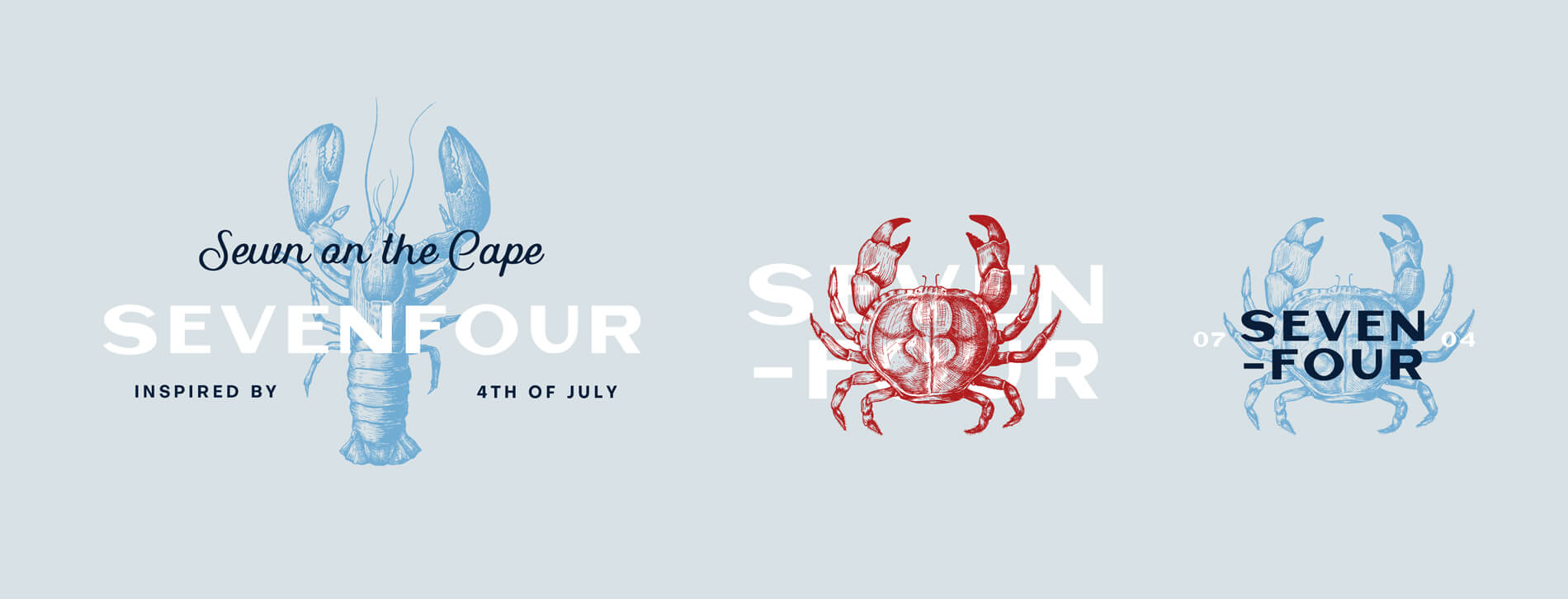 Alternative Sevenfour logos with lobster and crab illustrations