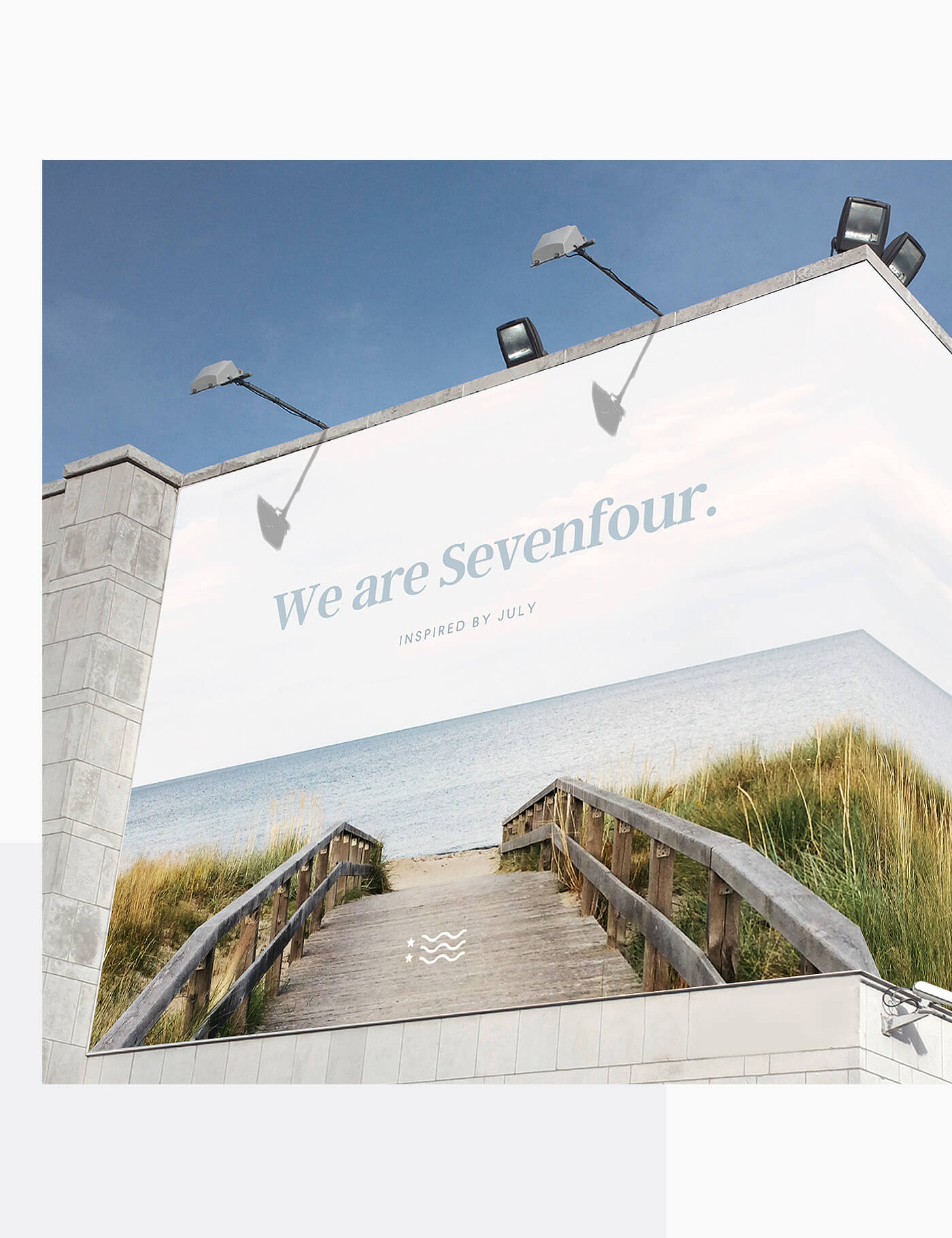 Sevenfour goes larger than lifeOutdoor Advertisements - Simple, on-brand, and meant to evoke memories of sandy summers on the Cape. The all-white logo keeps the Sevenfour mark front and center; it's an accent, not an eye-catcher.