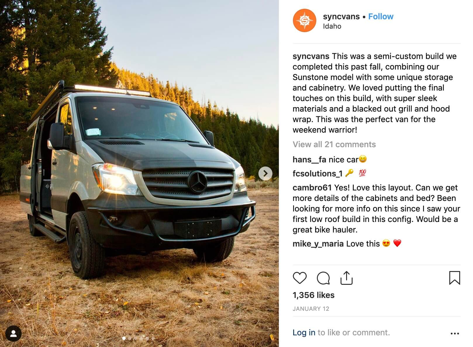 Storytelling through #VanLifeInstagram Management - We optimized SYNC's Instagram for growth by curating the industry's most popular community hashtags, posting authentic content, and maintaining an engaged fan base of users in particular lifestyle demographics.