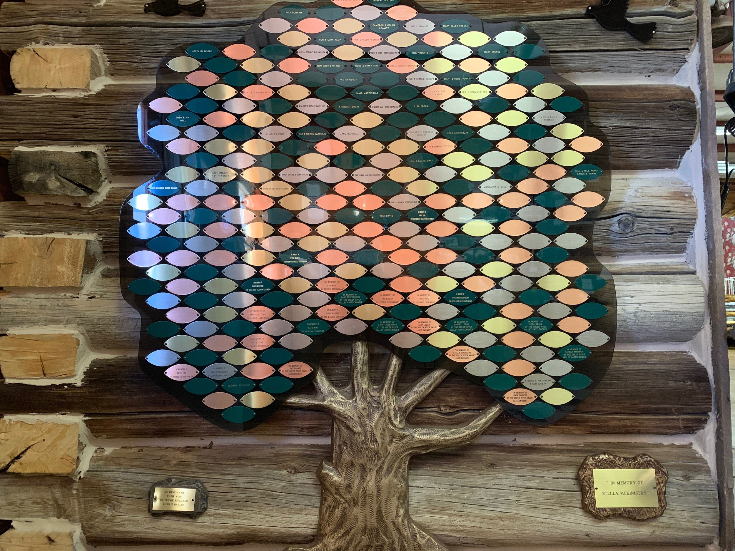 Donation Tree - When someone chooses to donate $25 or more to the museum, a leaf inscribed with the patron's name is added to the Donation Tree in recognition of their generosity in helping to preserve local history.