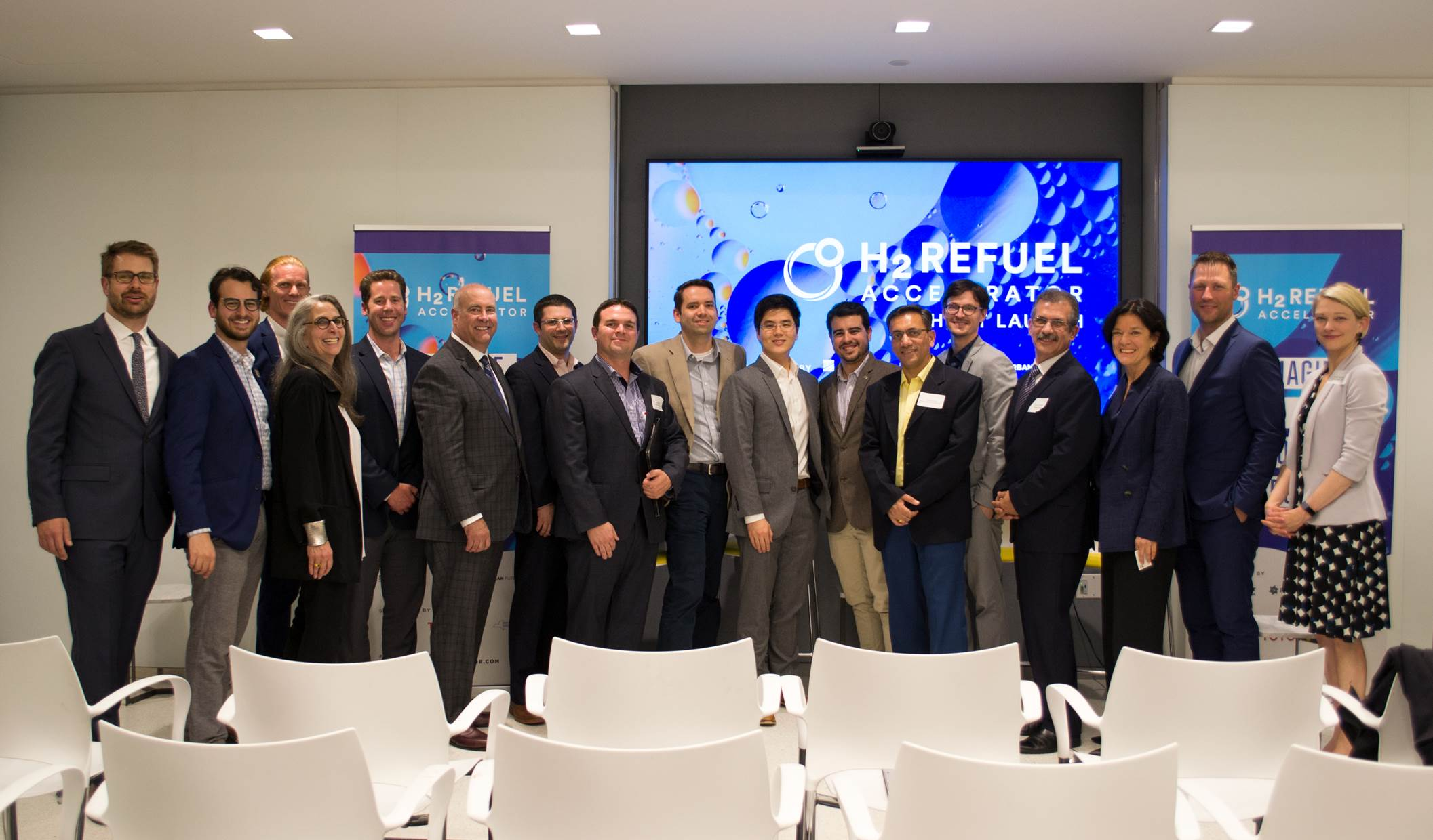 Photo: Urban Future Lab.  H2 REFUEL COHORT LAUNCH PARTY with H2 Refuel Accelerator startups, partners and sponsors at the Canadian Consulate, NYC on June 13, 2019. From left to right: Nick Rancis – Fraunhofer USA, Joe Silver – Urban Future Lab, Jake Fisher - Protium Innovation; Pat Sapinsley – Urban Future Lab; Nick Querques – NYSERDA; Trent M. Molter – Skyre; Adam Ruder – NYSERDA; Ian Richardson - Protium Innovations; Paul Matter – pH Matter; Gary K. Ong – Celadyne; Gabriel G Rodriguez-Calero - Ecolectro; Abhijeet P. Borole - Electro-Active Technologies; Alex J. Lewis - Electro-Active Technologies; Mario Pirraglia – HYGEN; Nancy Selman - Skyre; Matthew Blieske – Shell; Emily Reichert – Greentown Labs.