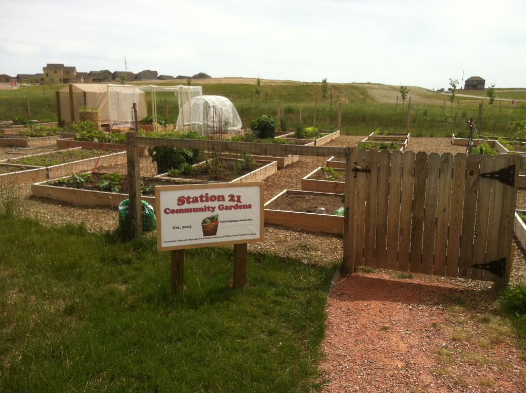 Fire Station 21   Constructed in 2015 by local firefighters, volunteers students and families from Imagine Classical Academy nearby, the Fire Station 21 Community Garden is our garden on the east side of Colorado Springs. Firefighters at the station utilize a handful of plots, the rest are gardened by local community members. Each plot consists of three raised beds with nearby farm hydrants for watering. This community garden boasts one of the best views of Pikes Peak and the Front Range.