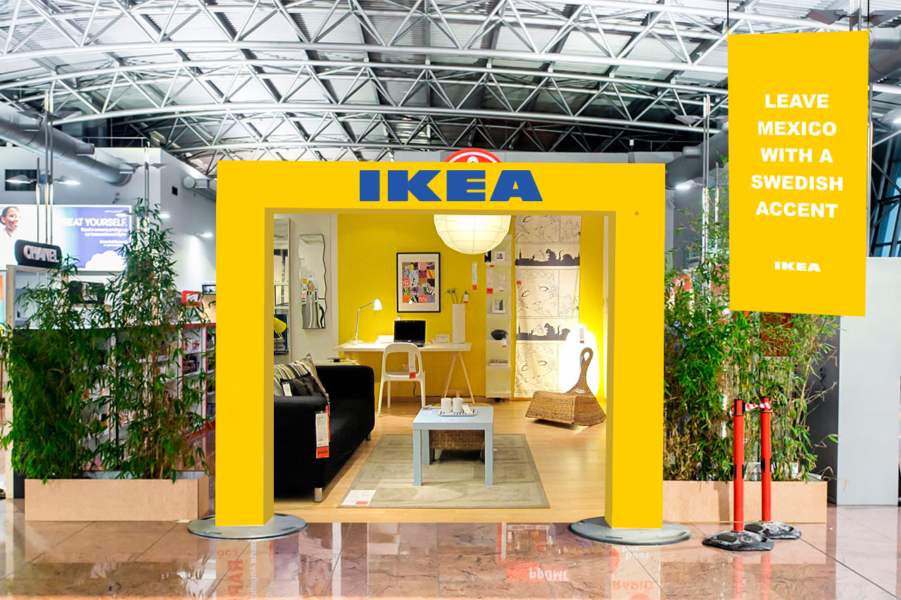 IKEA will set up pop up booths in International Airports. They will feature the best selling accent furniture pieces and exclaim that you can travel to any country and come back home with a Swedish Accent. Bigger pieces of furniture will be shipped straight to travelers houses.