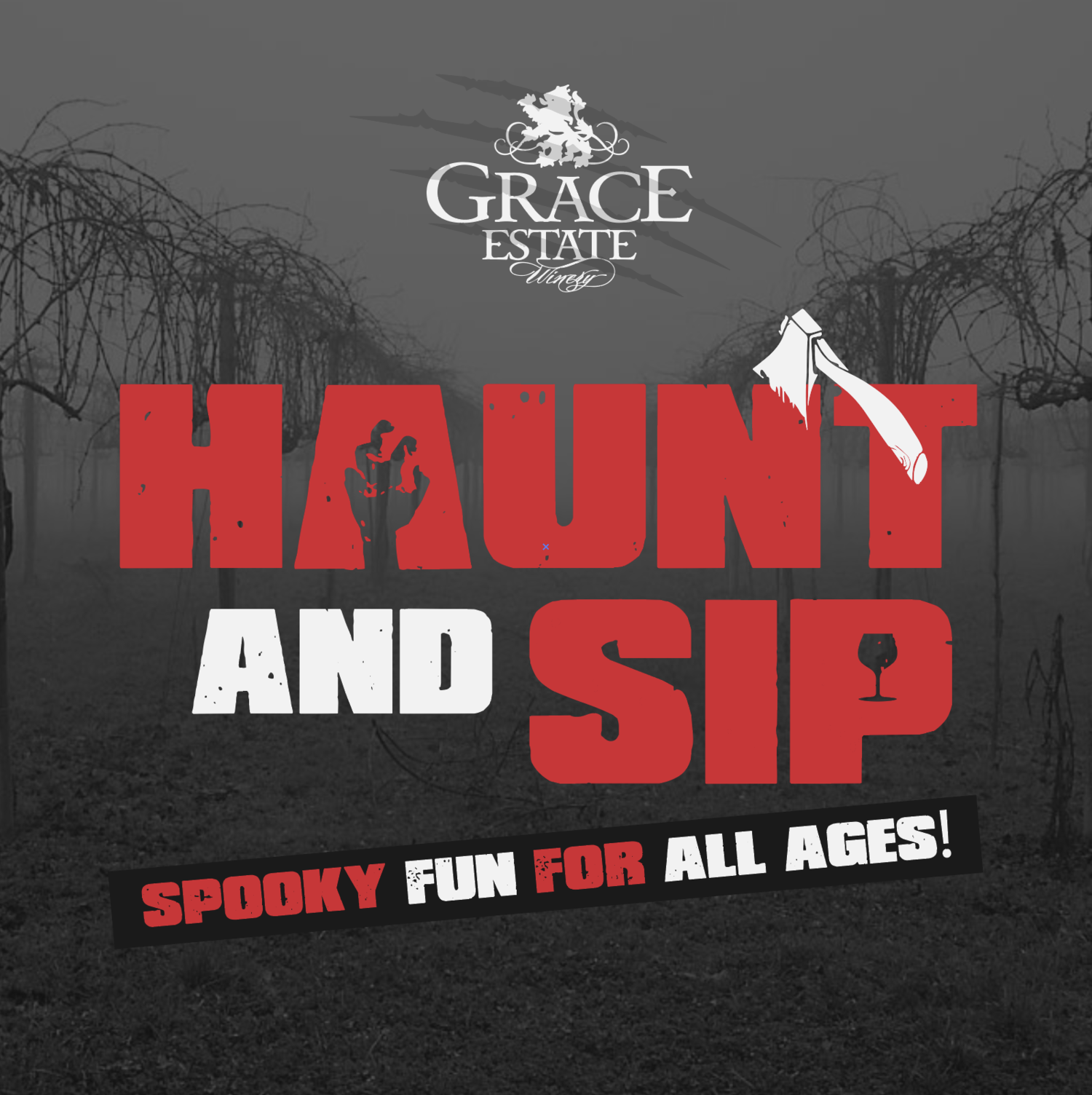 Haunt & Sip - Friday & Saturday Evenings in OctoberJoin us for a hayride and wine tasting through the haunted grounds of Mt. Juliet Farm at Grace Estate Winery. Learn about its brief history, experience the unknown, and meet the poor, tormented souls who cannot pass from this place.$25/Adult (Includes one glass of wine)$18/Adult (Non-alcoholic)$9/Kid (12 and Under)Hayrides available at 7PM, 8PM, and 9PM.