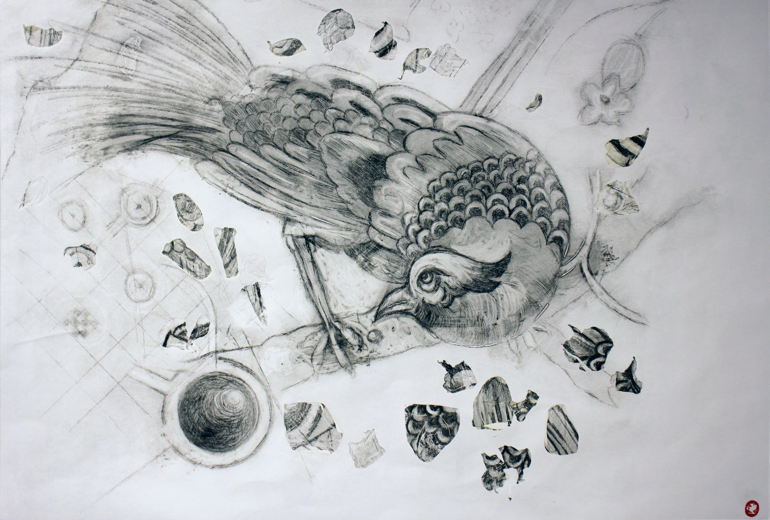 Sally Annett - Drypoint with Rose petals (2018)