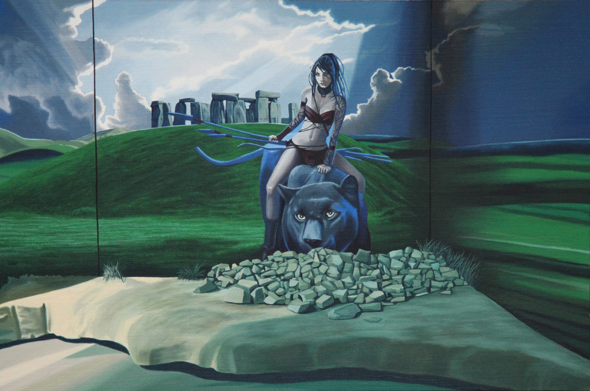 James Moore -  A Silurean Warrior Abandons Cardiff AD74 , oil on paper (2015)