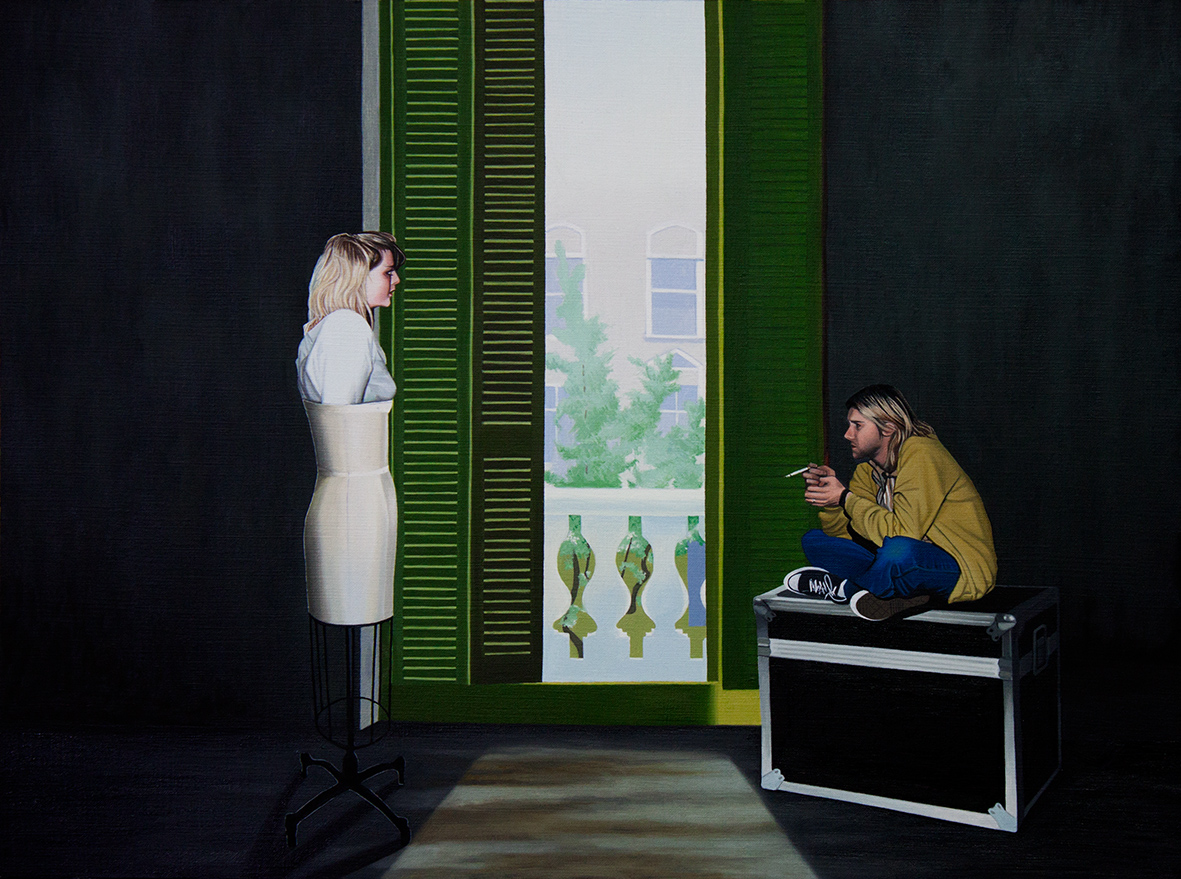 James Moore -  Mr & Mrs Cobain at TJ's, Newport, AD1991 , oil on paper, (2017)