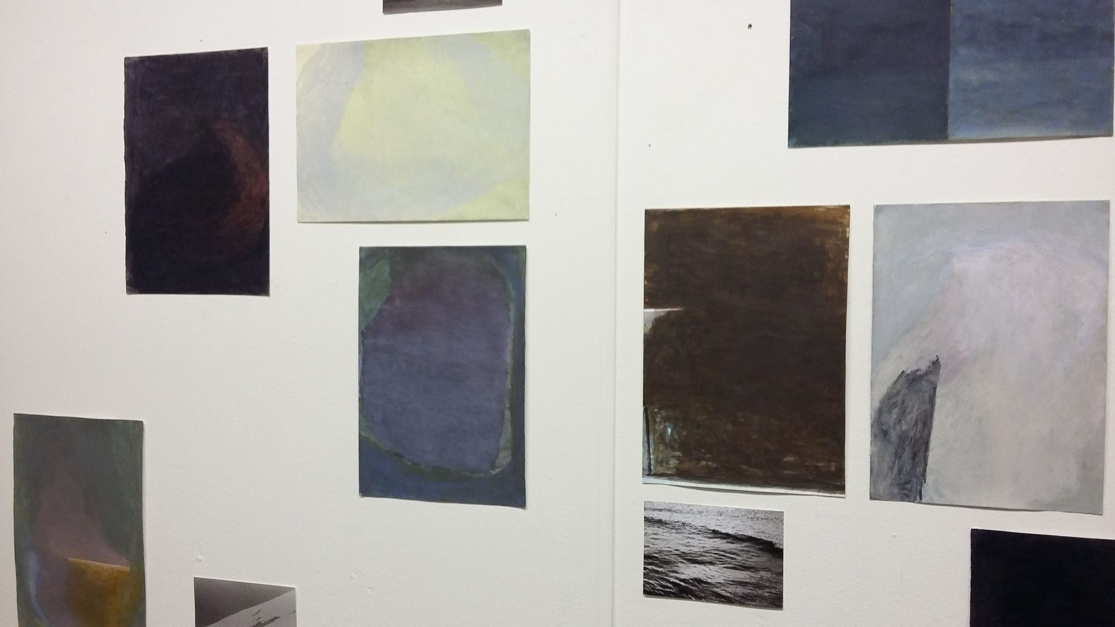 Iceland paintings on paper, pinned to studio wall