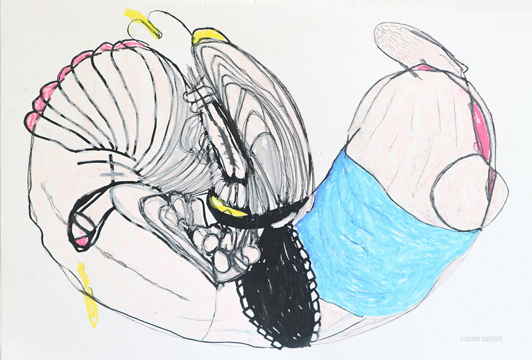 Suspended Bodies #3 , oil pastel & graphite on paper, 2017
