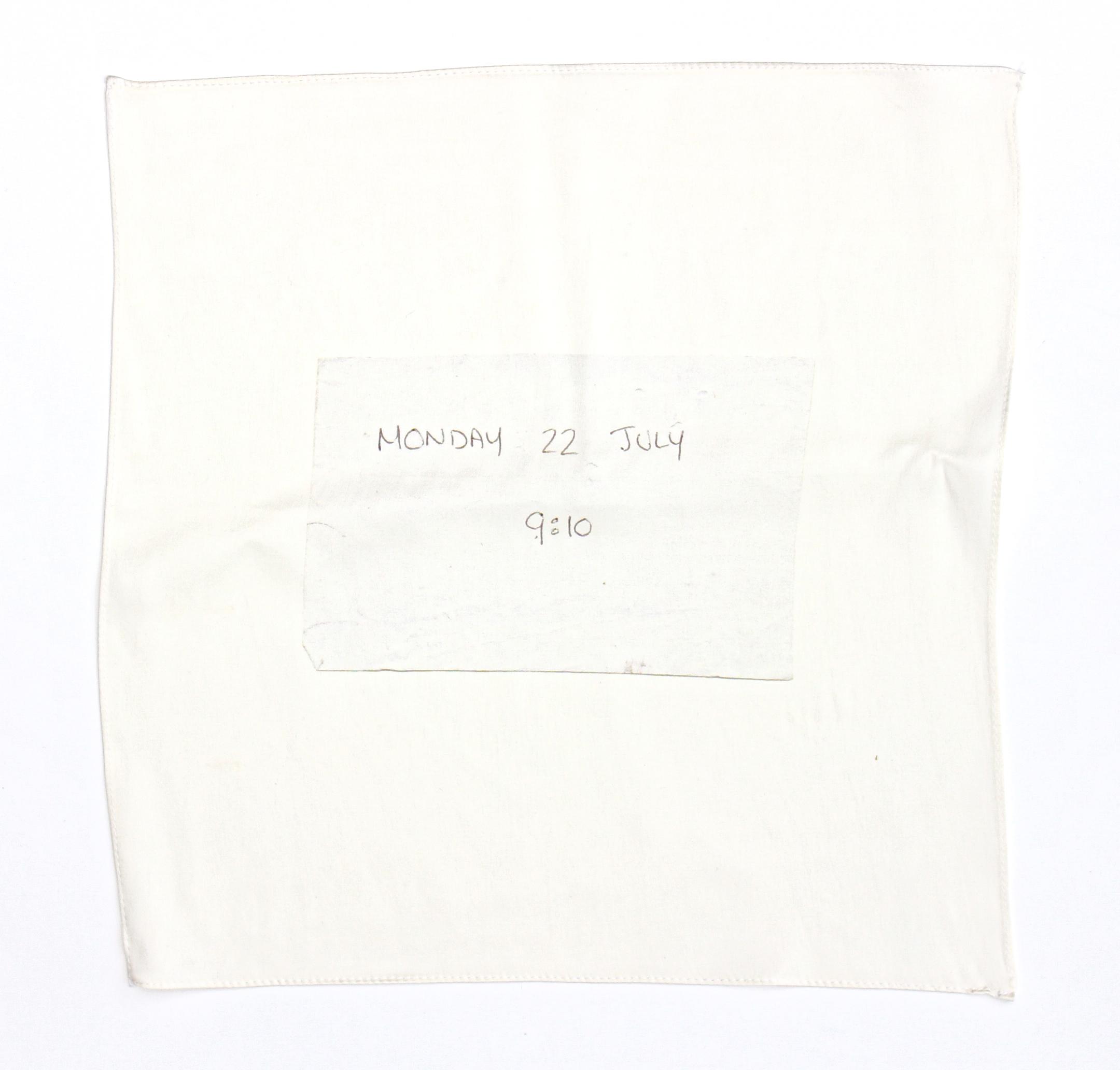 Found note silk hankie (Monday) , 2018, 100% silk satin with hand stitched edge