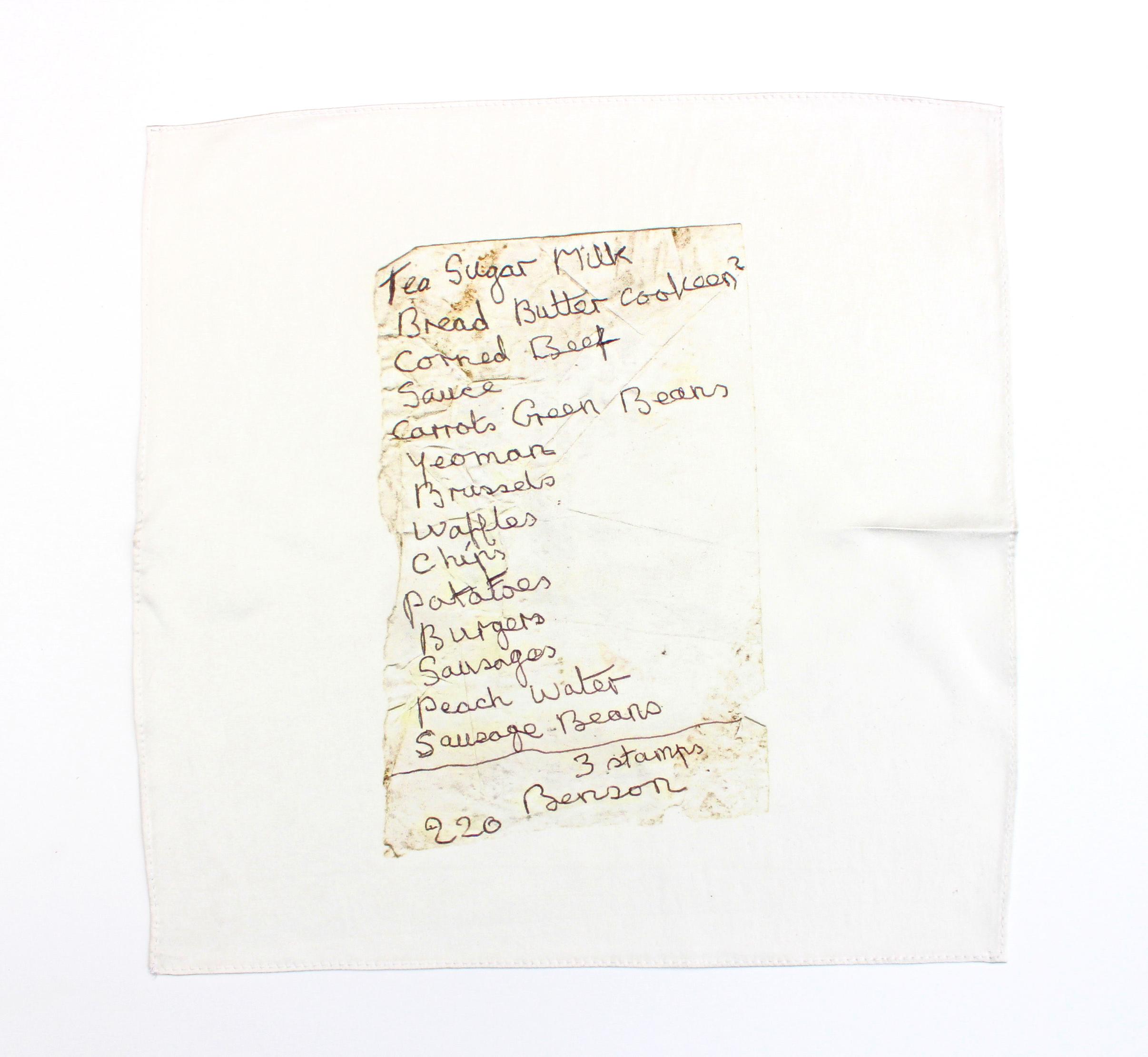 Found note silk hankie (220 Bensons) , 2018, 100% silk satin with hand stitched edge