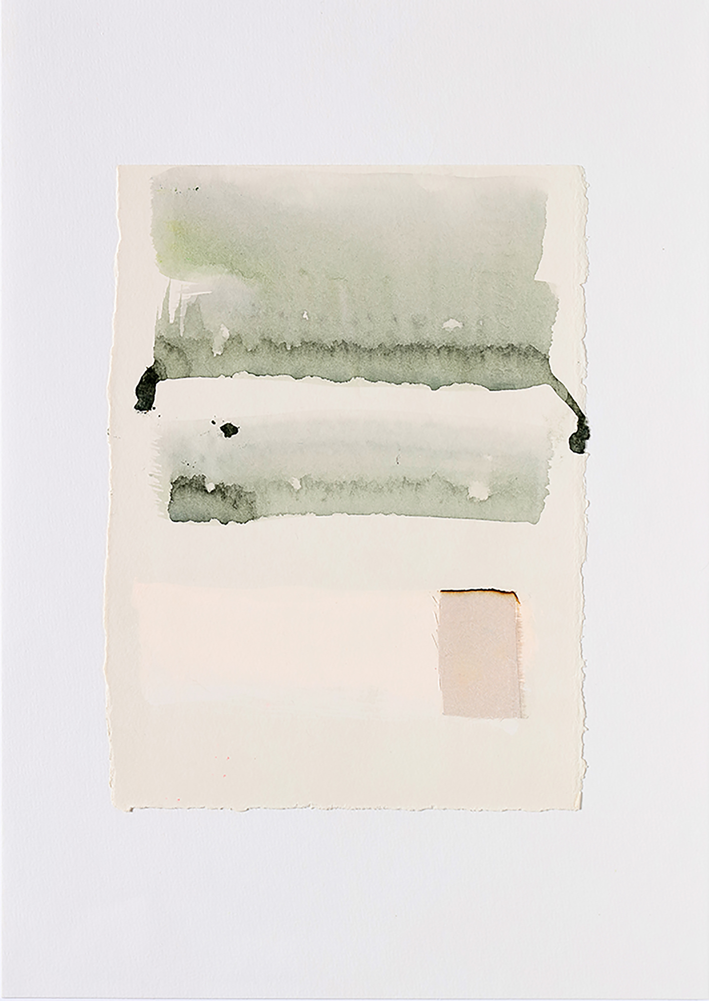 Jane Bustin, Still Water (2018). Acrylic, saltwater, beetroot and silk on paper