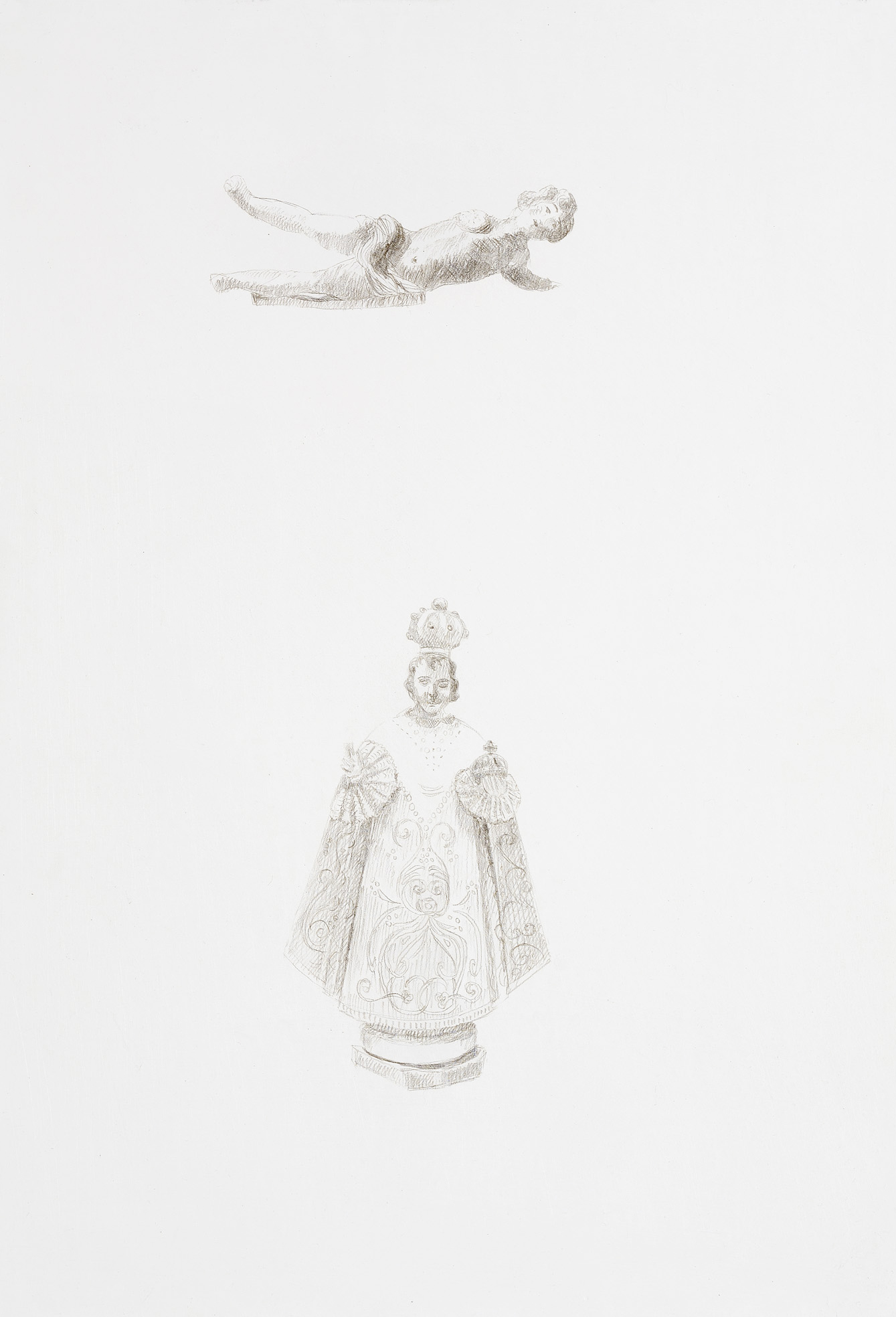St. Anthony & Putti, silverpoint on gesso, 2010