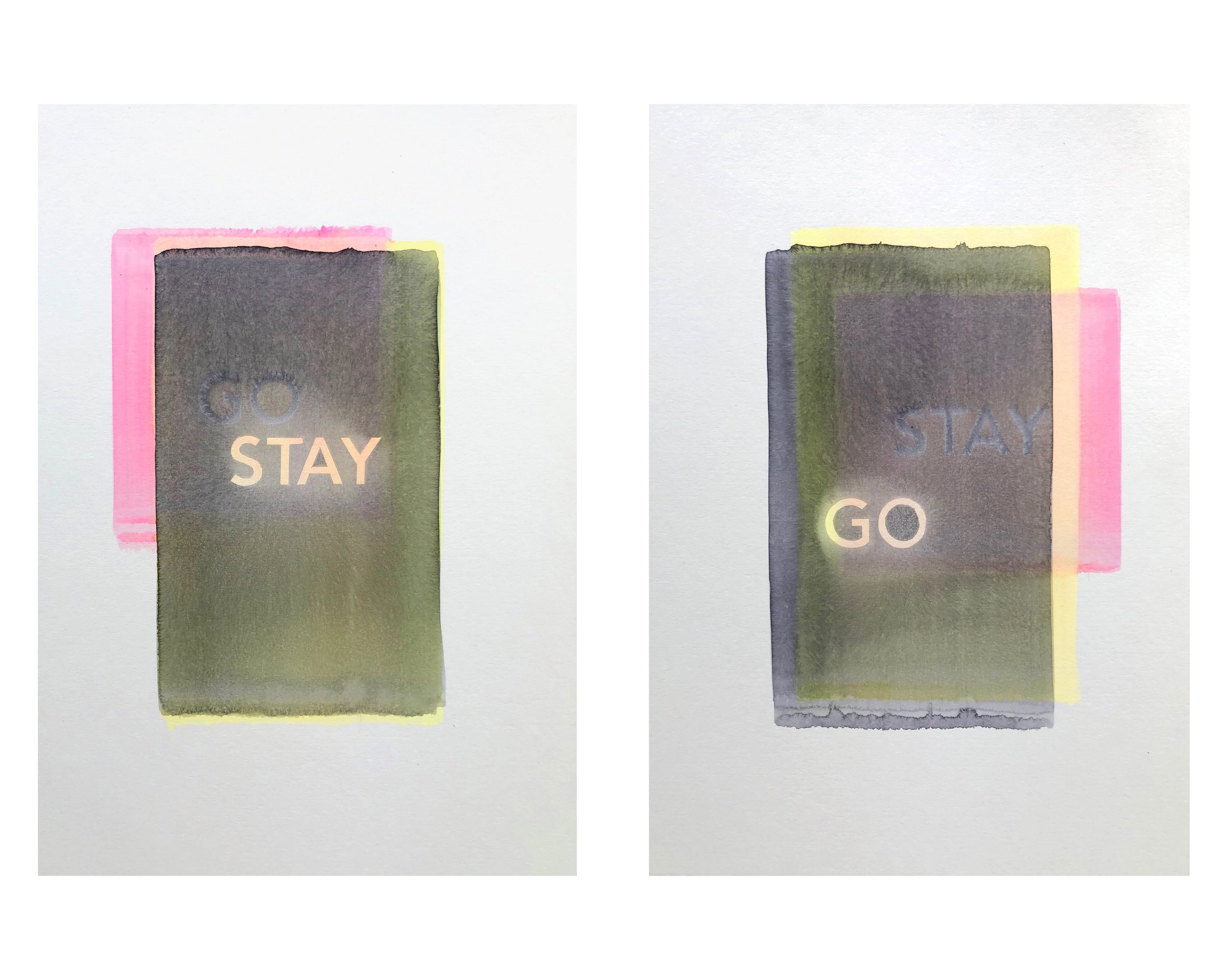 Reece Jones, Go Stay - Stay Go IV (2019). Watercolour on conservation board, two panels