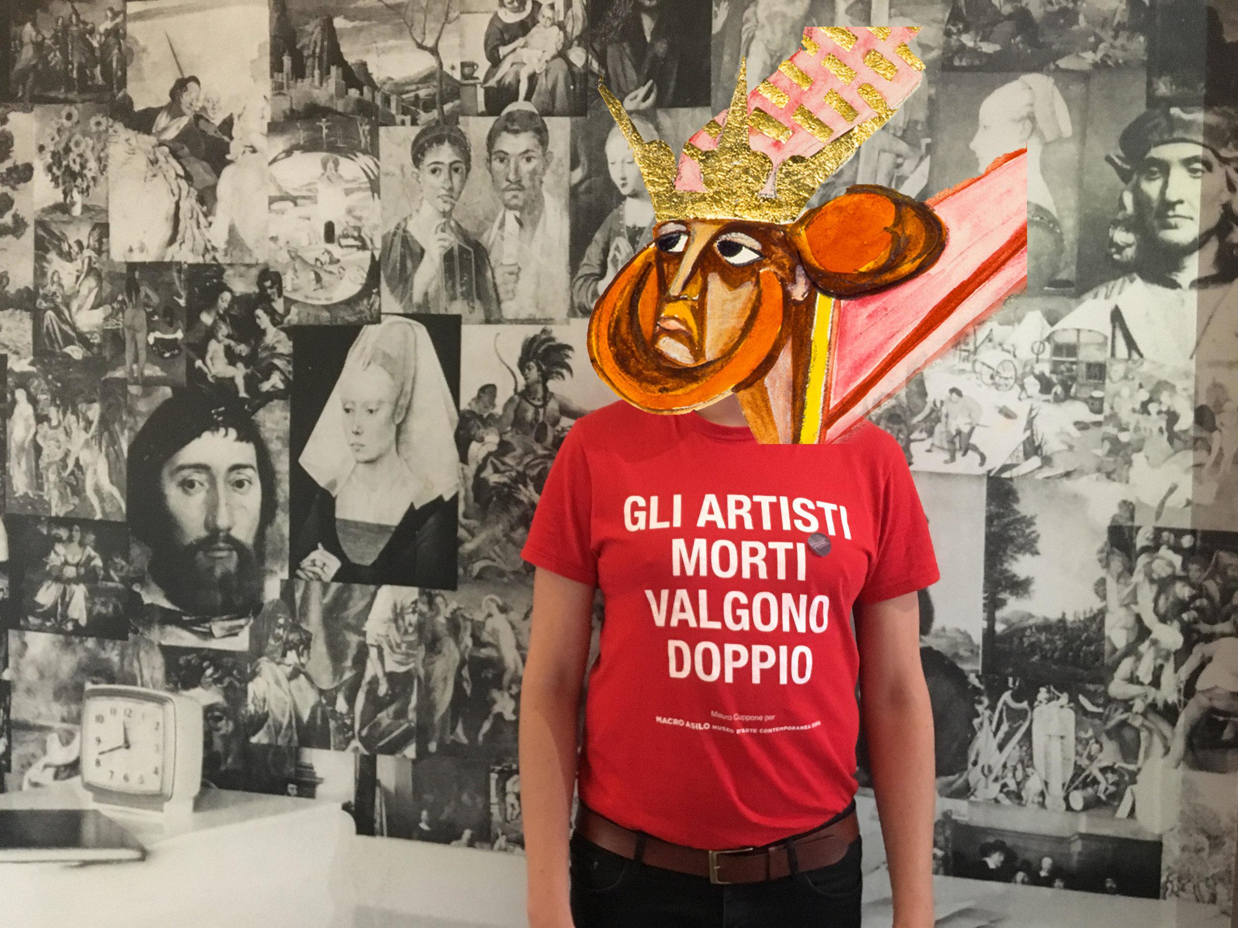 Greg Thorpe and Oisin Share, Greg in Joe Orton's flat with Goncharova's head (2019). Digital collage