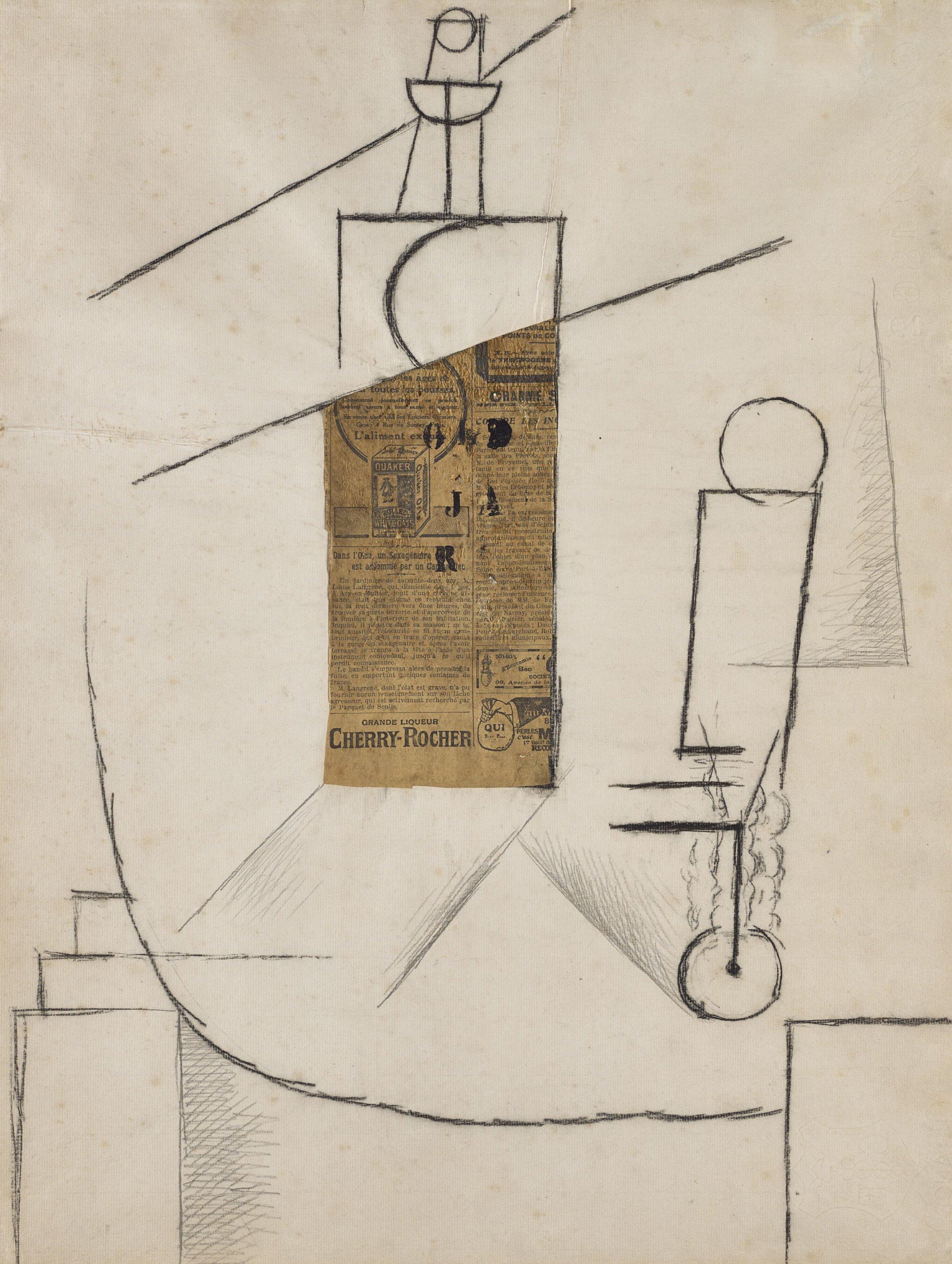 Pablo Picasso, Bouteille et Verre sur un Table (1912)