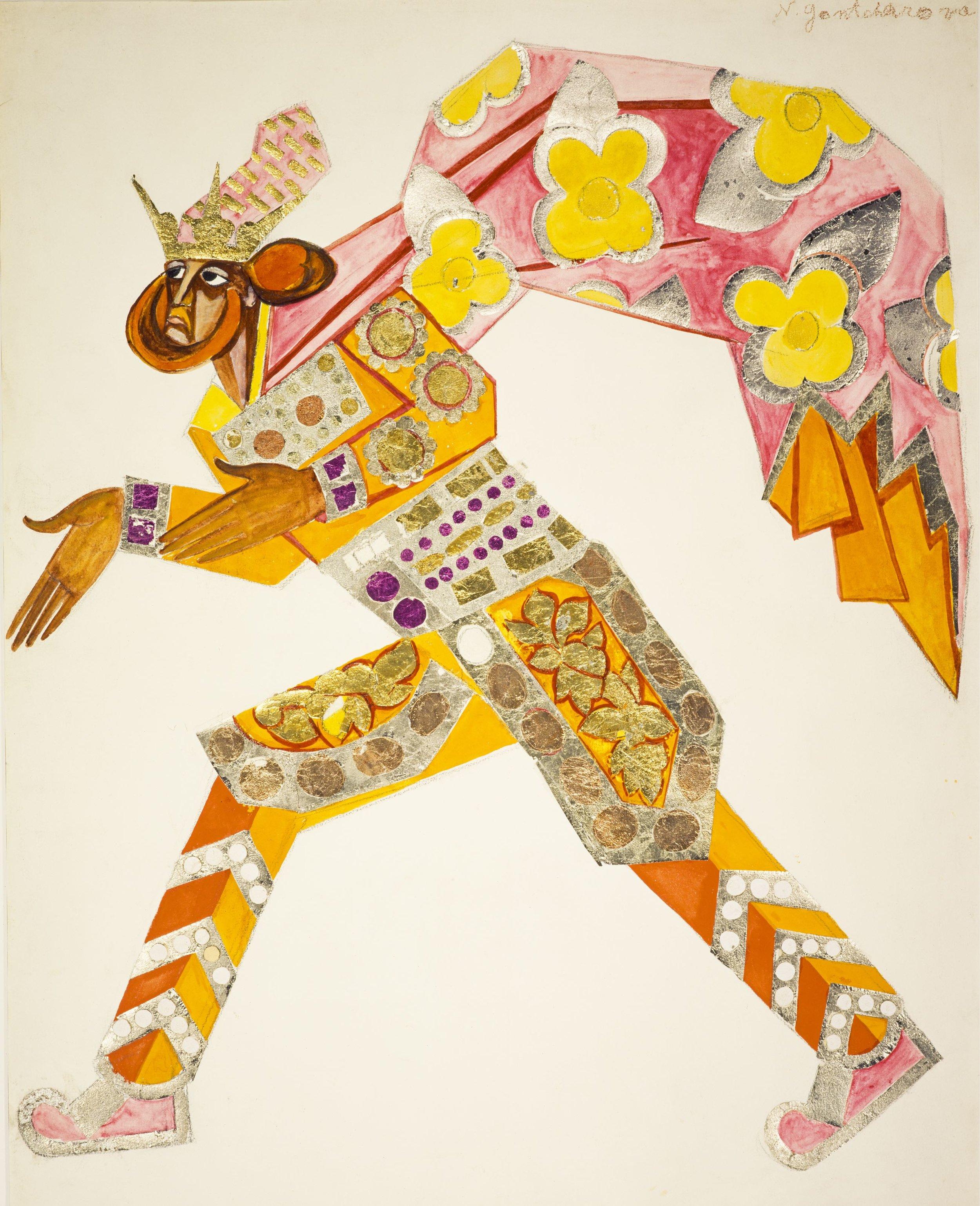 Natalya Goncharova, Costume Design for One of the Three Kings in 'La Liturgie' (1915)