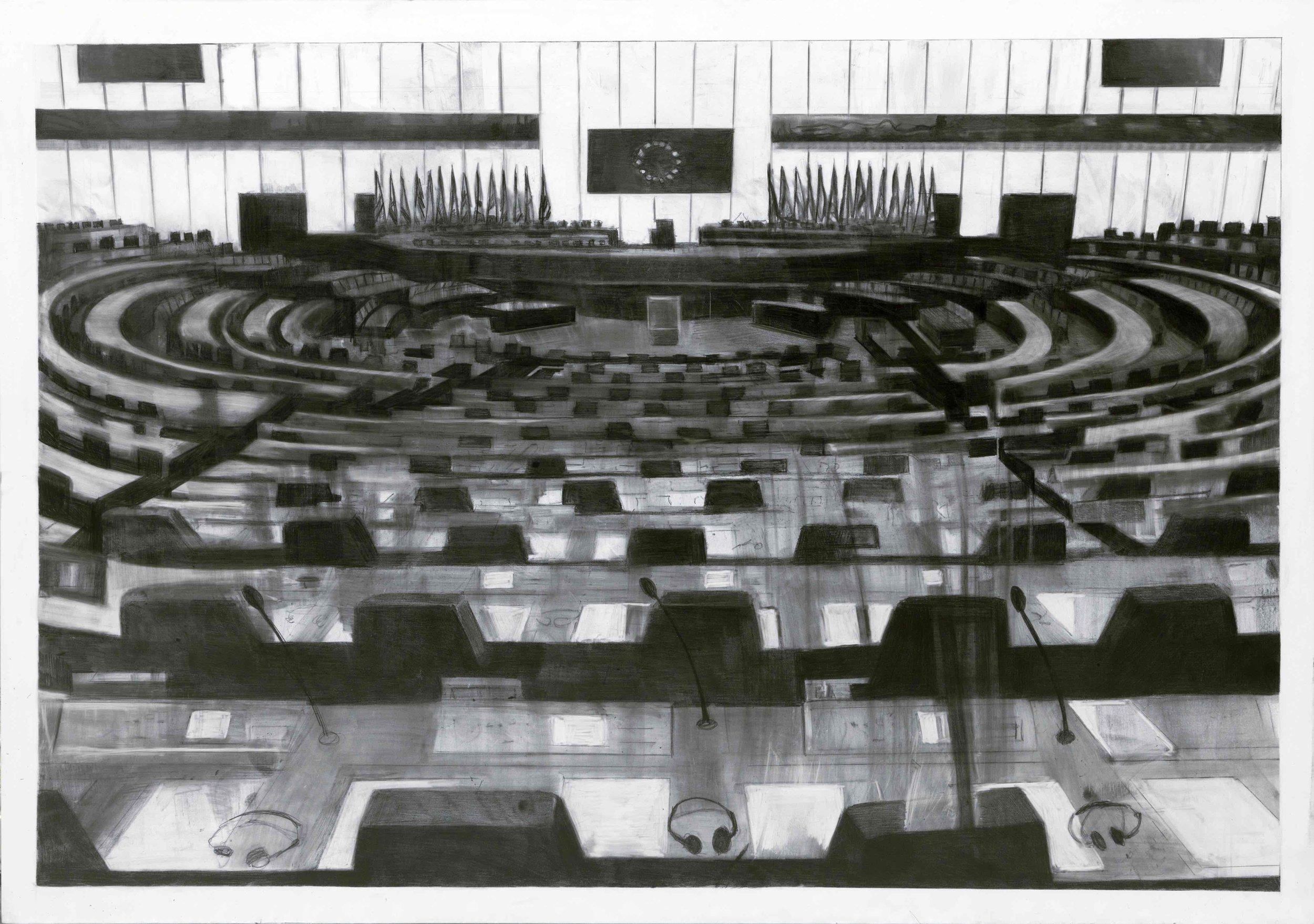 Marc Bauer –Untitled, European Parliament, 2019. Pencil on coated aluminium board (Dibond), 45 x 64 cm