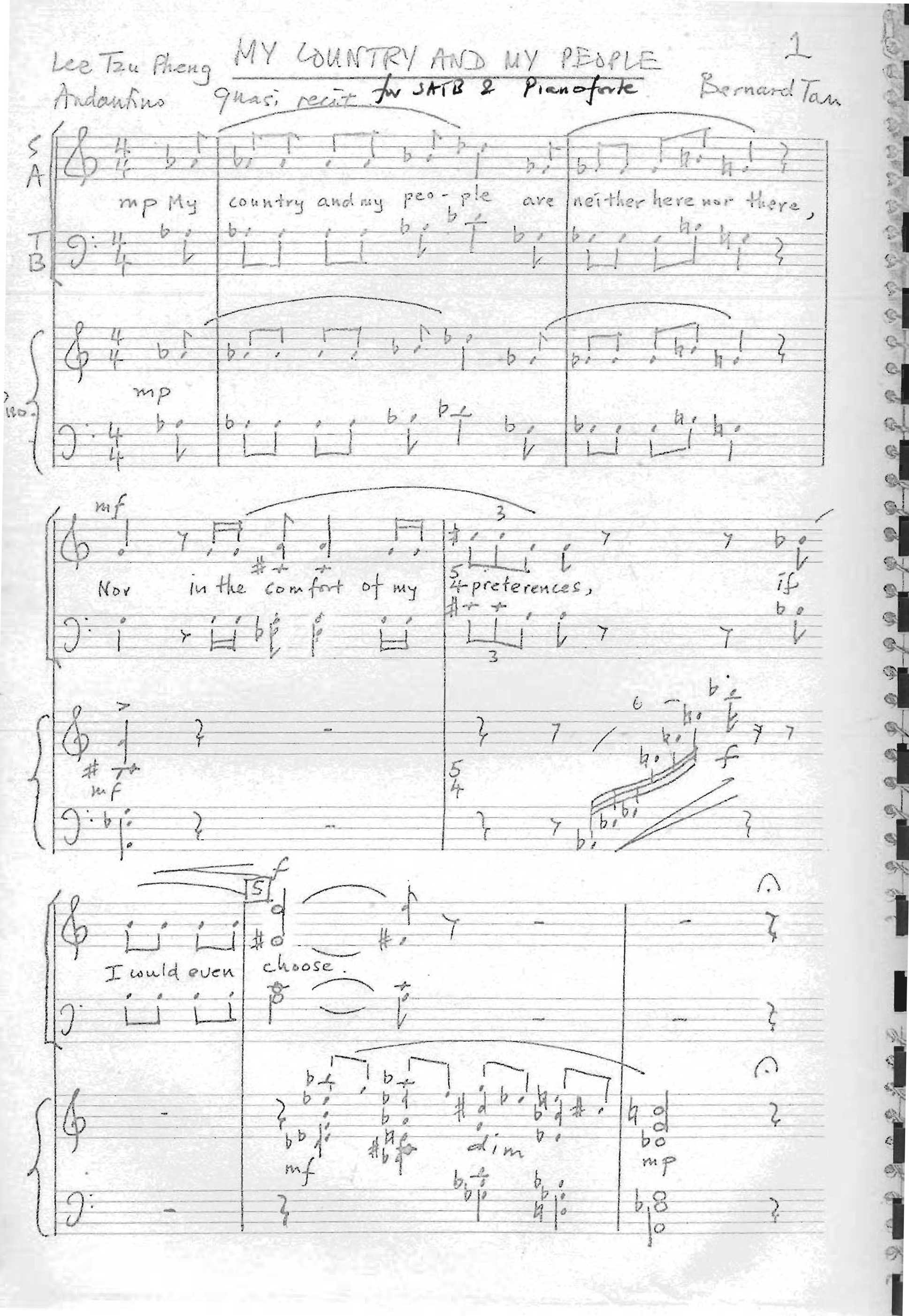 Bernard TAN: My Country and My People, for SATB choir and piano (text by Lee Tzu Pheng) (1977)