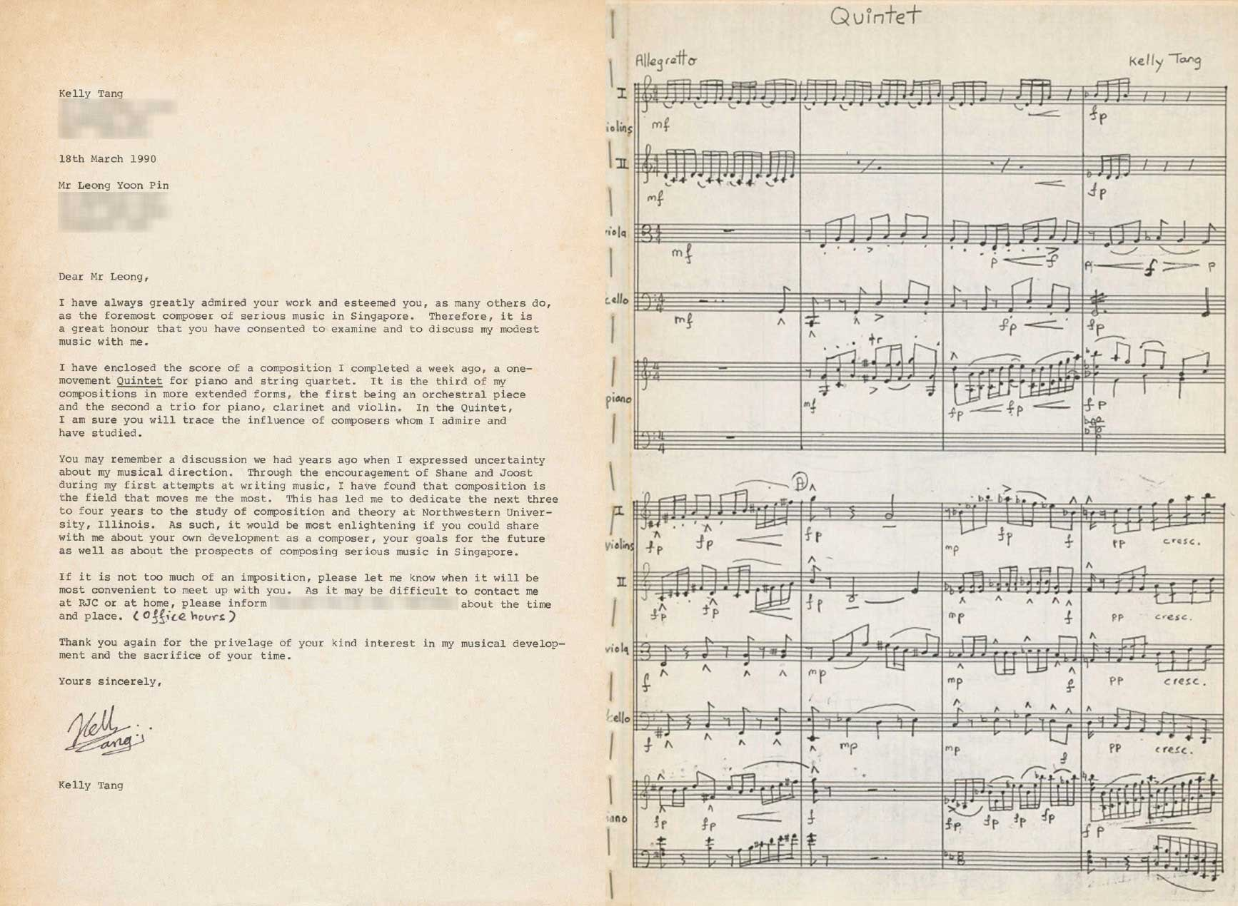 Letter to Leong Yoon Pin, by composer Kelly Tang