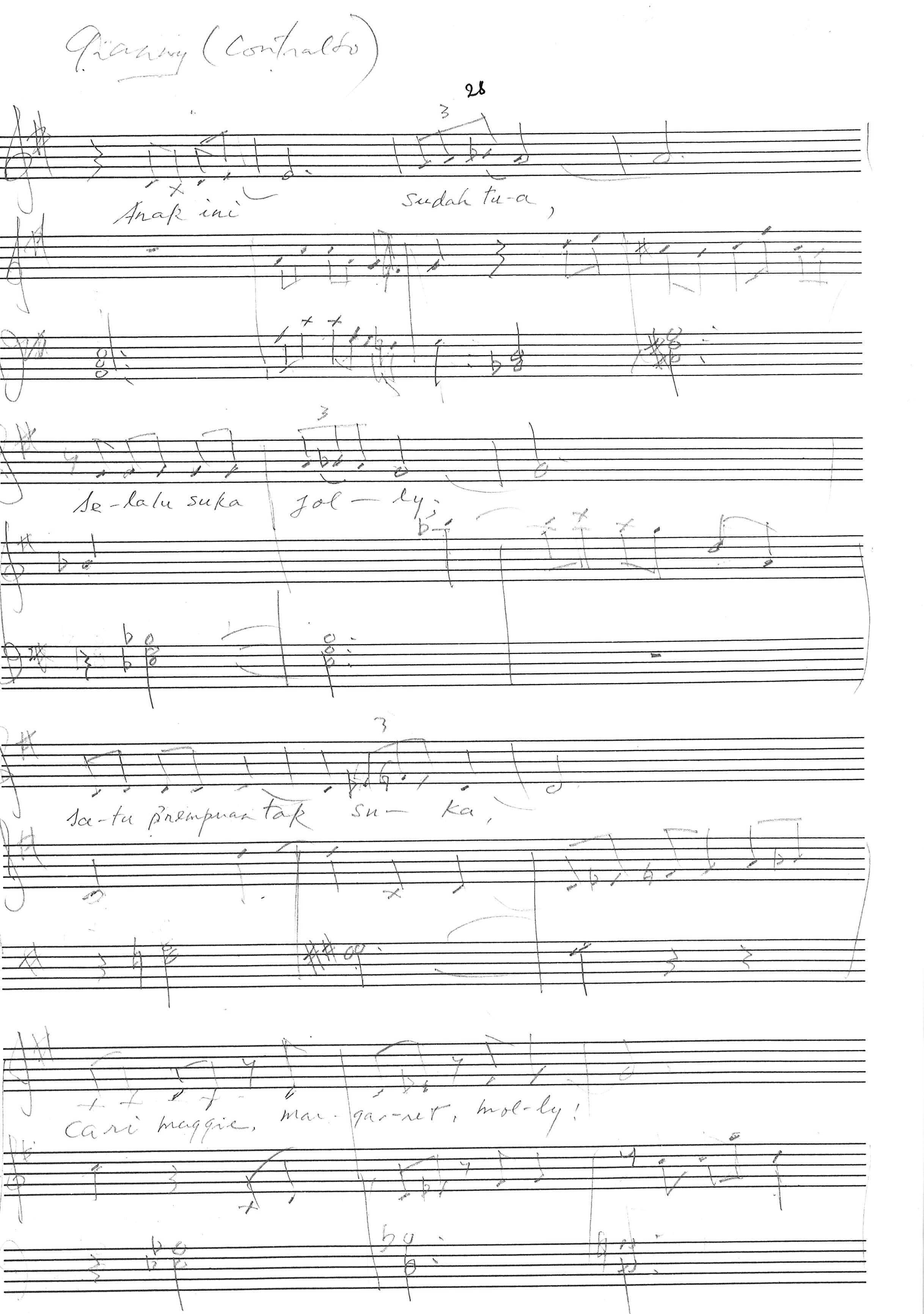 Bunga Mawar, short score, manuscript – page 28