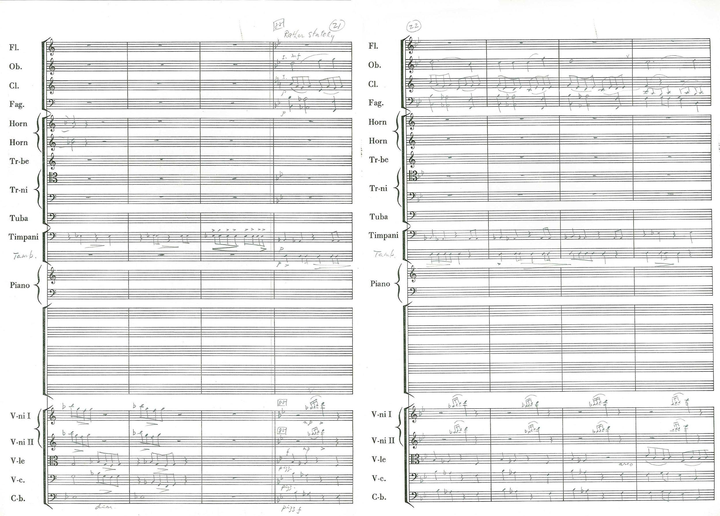 Dayong Sampan Overture, manuscript – page 21/22