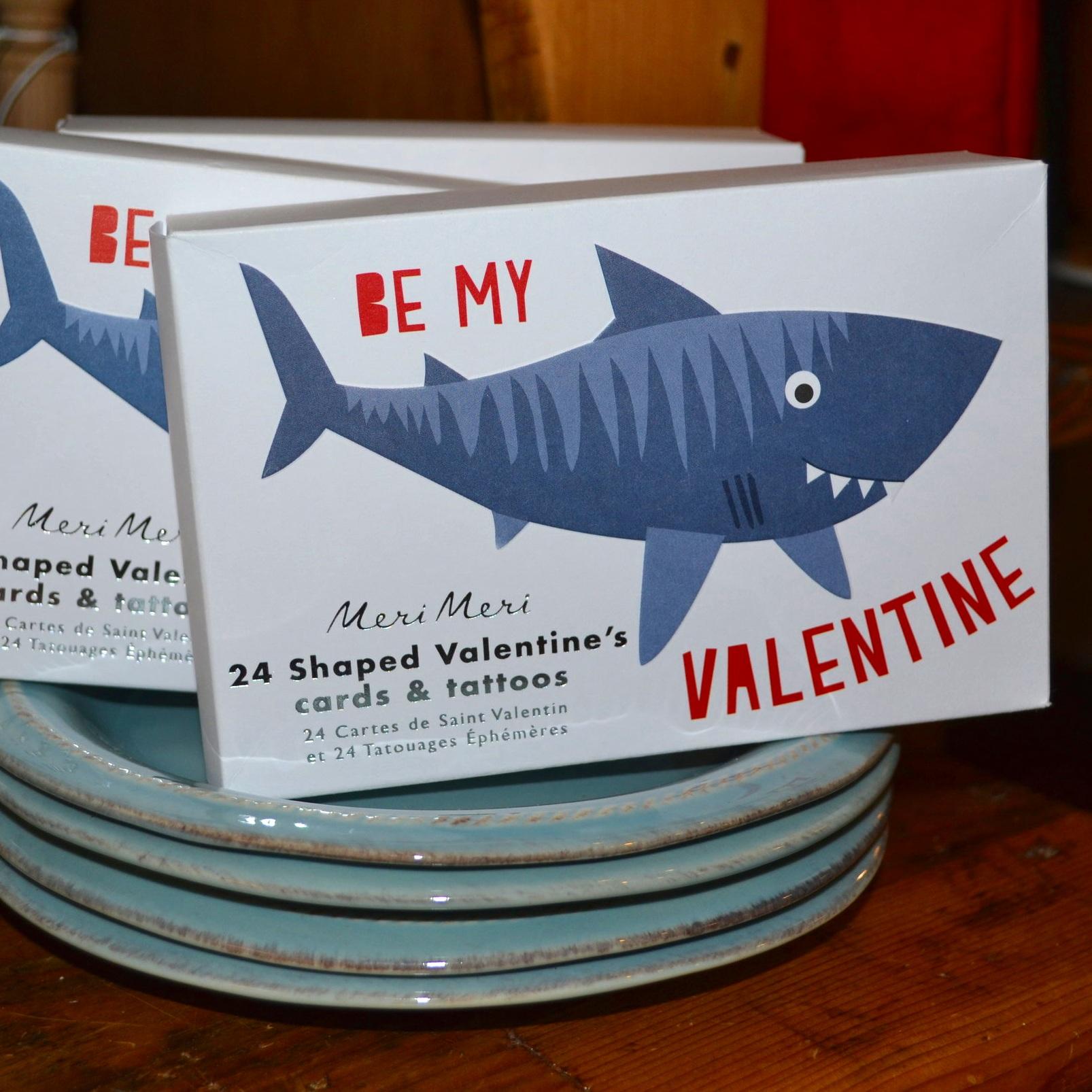Box of 24 Shark Valentine Cards & Tattoos