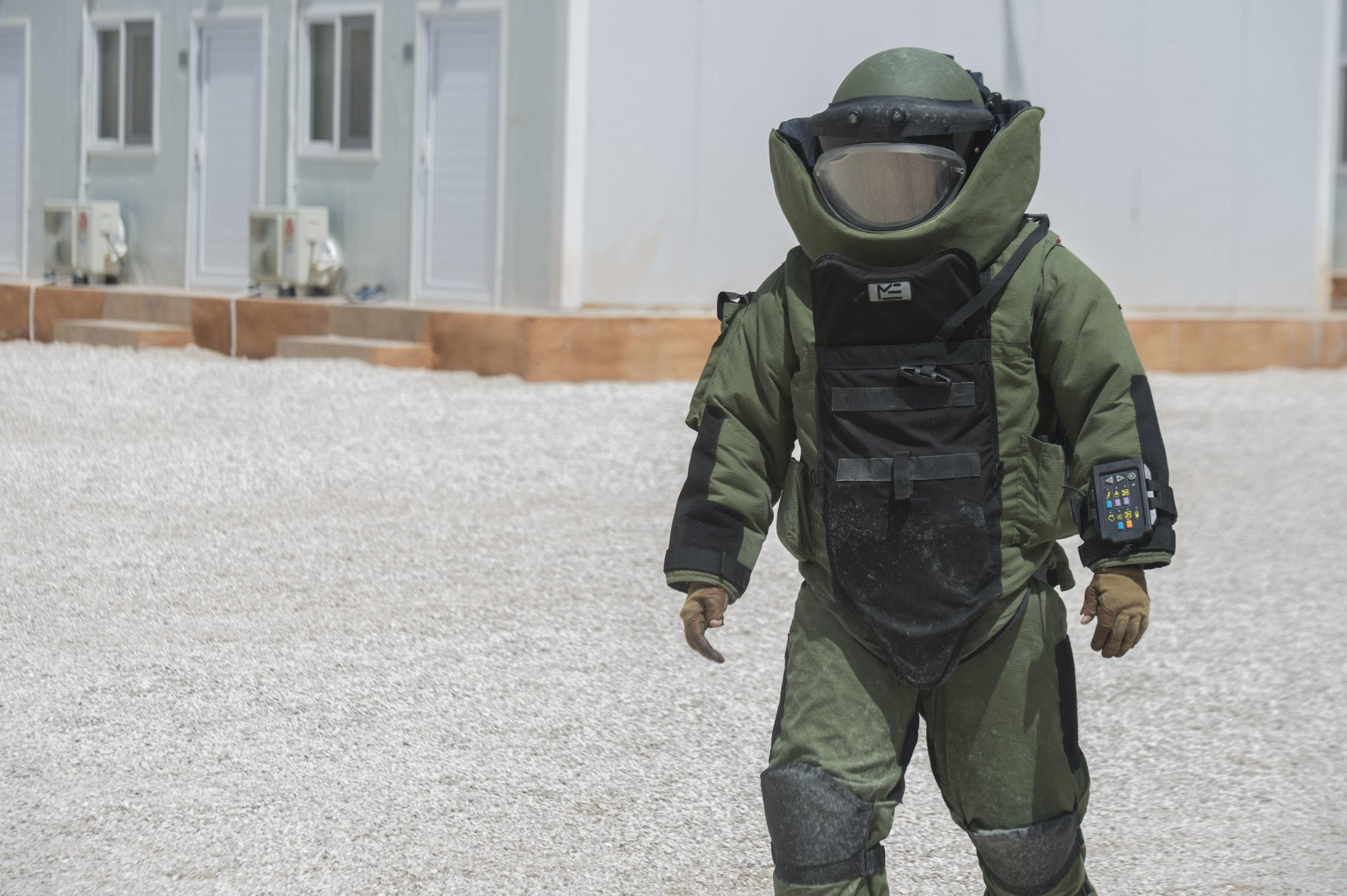 EOD technician in full protective gear