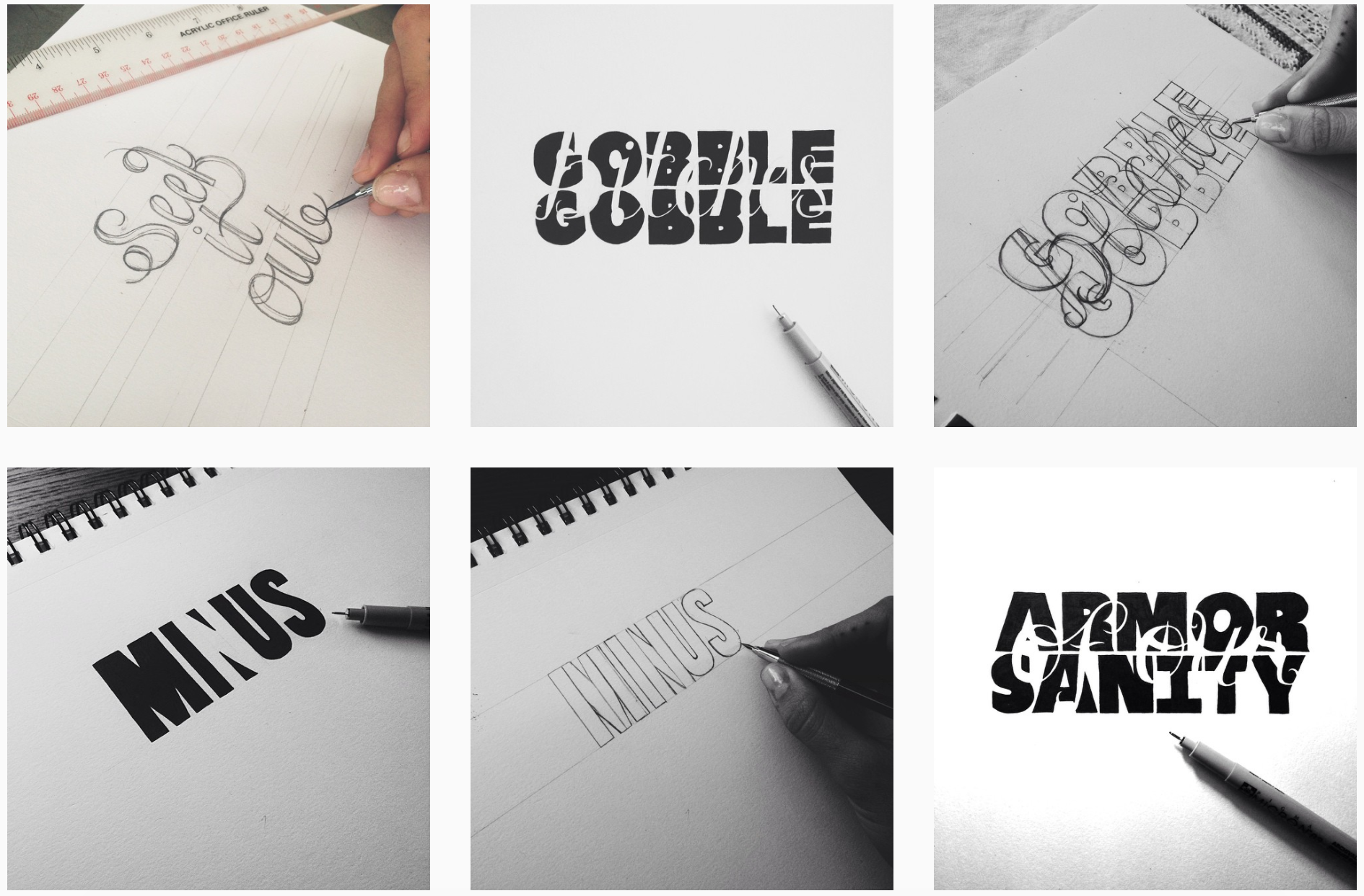 Some of my hand lettering pieces featured on @bean_robin
