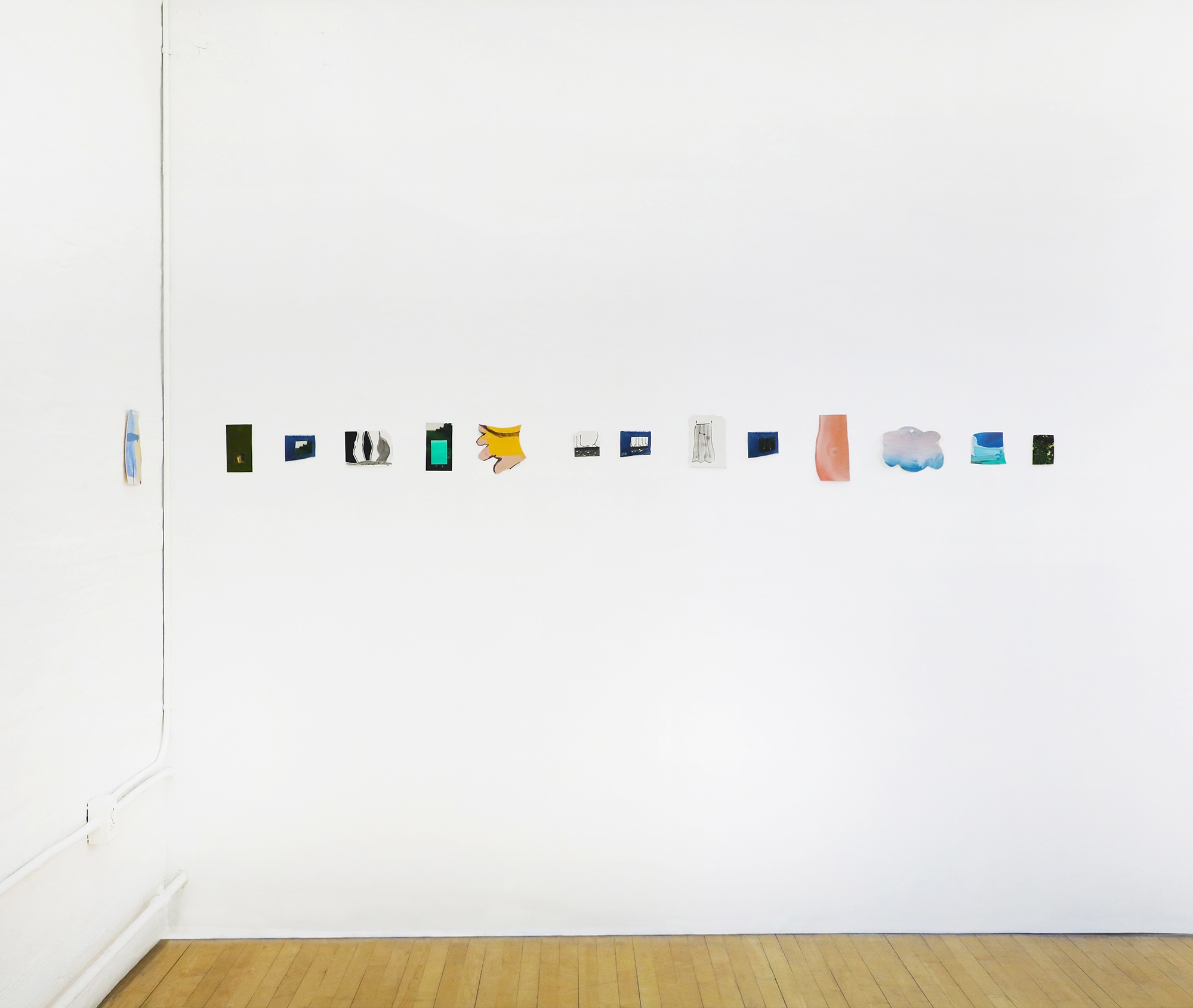 Installation of collages and small paintings in  20 Ways to Make a Painting , 2018. Experimental Gallery, Ithaca, NY.