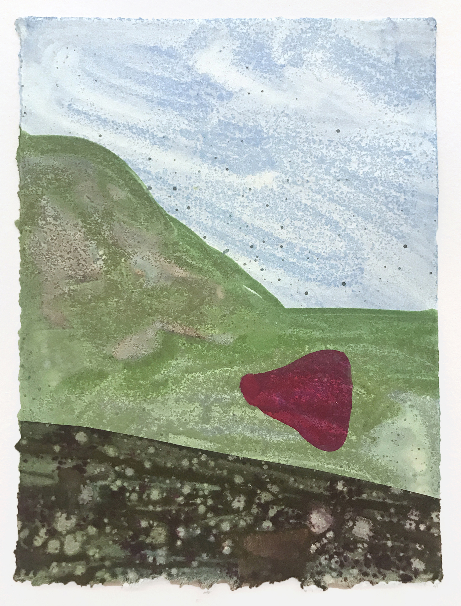 "In the Park (with Pink Underwear) , 2018. Monotype on stonehenge paper, 6""x8 1/4"""
