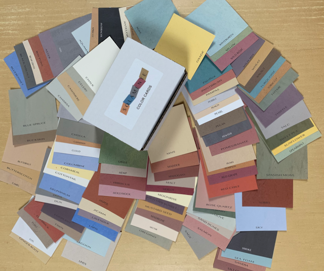 Have fun playing with colors! The cards were created with care to simulate Solamente's colors and to offer an an inexpensive way to see them and create your palette.
