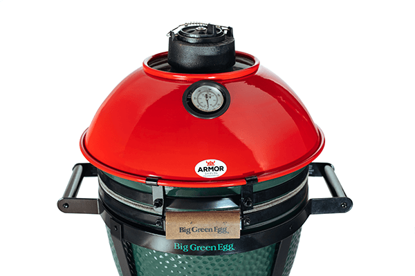 Armor Shields Original Red Grill Shield Installed on the Big Green Egg