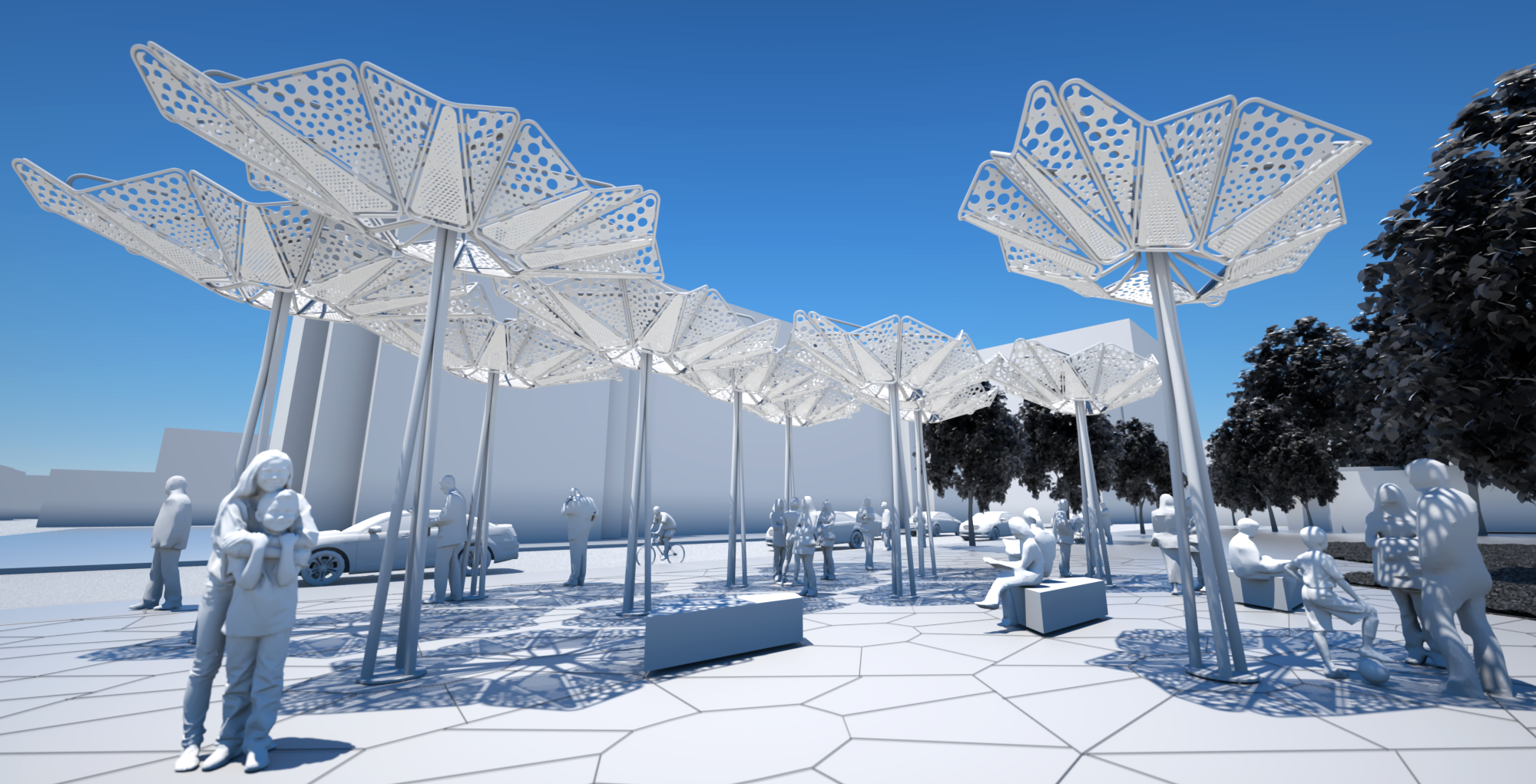 Anemone Canopy Clusters:  The hexagonal tiling pattern allows for larger canopy clusters to be formed (Phase 2 is unbuilt)