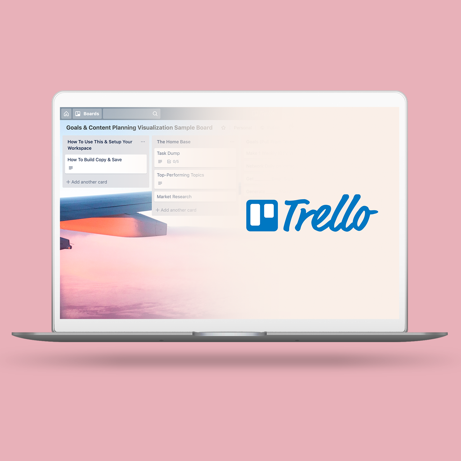 Build-a-Workflow Goal-Oriented Content Creation Trello Workspace Template - Take back control over your time with the Trello workspace template. Designed to give you clarity, confidence, and content that's connected to you & your goals.Say hello to your brand new Monday morning where you're not just winging it and barely getting by. More time, more opportunities, more happy you, more happy clients…