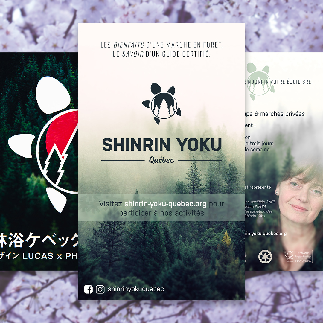 Shinrin Yoku (lit. forest bath) is a form of therapy originated from Japan. Under the supervision of a certified guide, people will quietly visit a natural area, learn about its flora/fauna and participate in relaxing activities. I designed the logo for Shirin Yoku Québec, then a few flyers too.