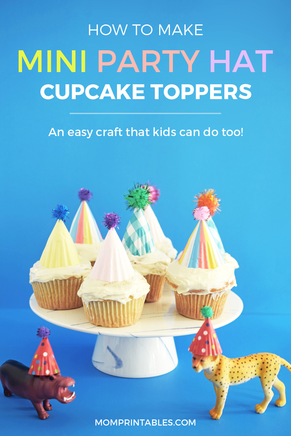 Mini Party Hat Cupcake Toppers DIY for Pinterest