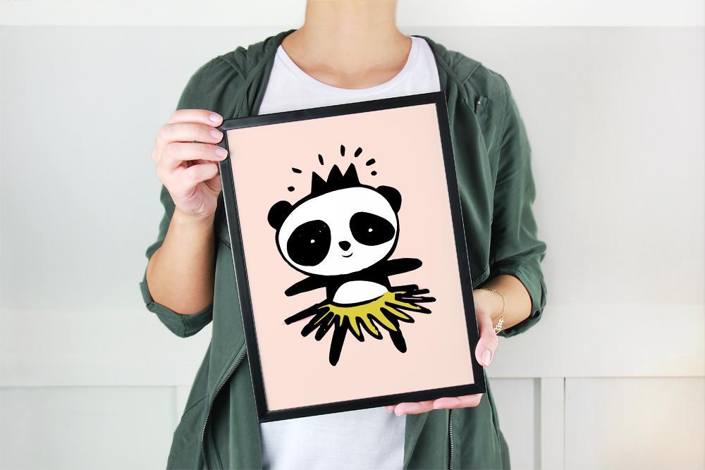 panda_printable_in_black_frame_held_by_woman.jpg
