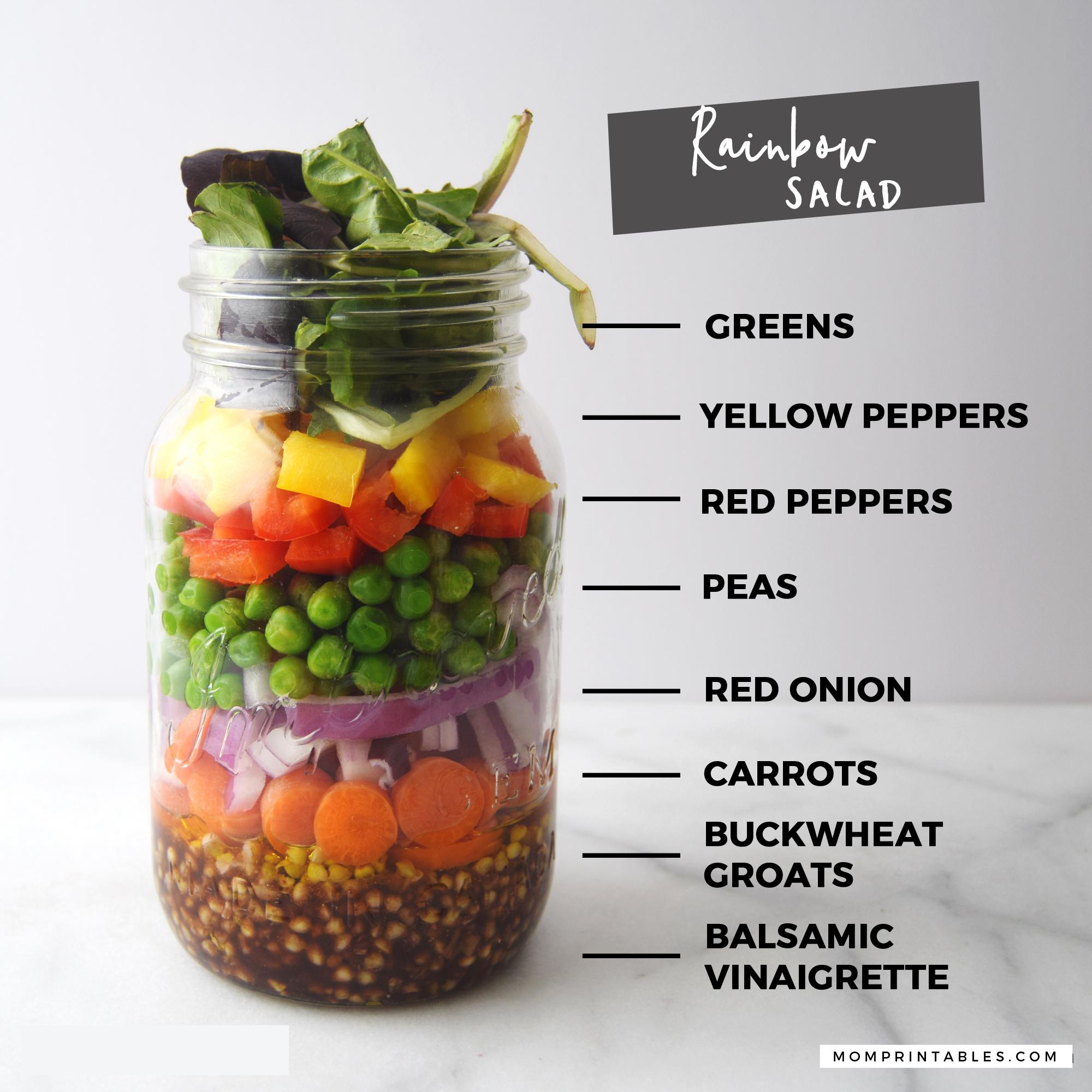 Mason Jar Salad - Rainbow Salad