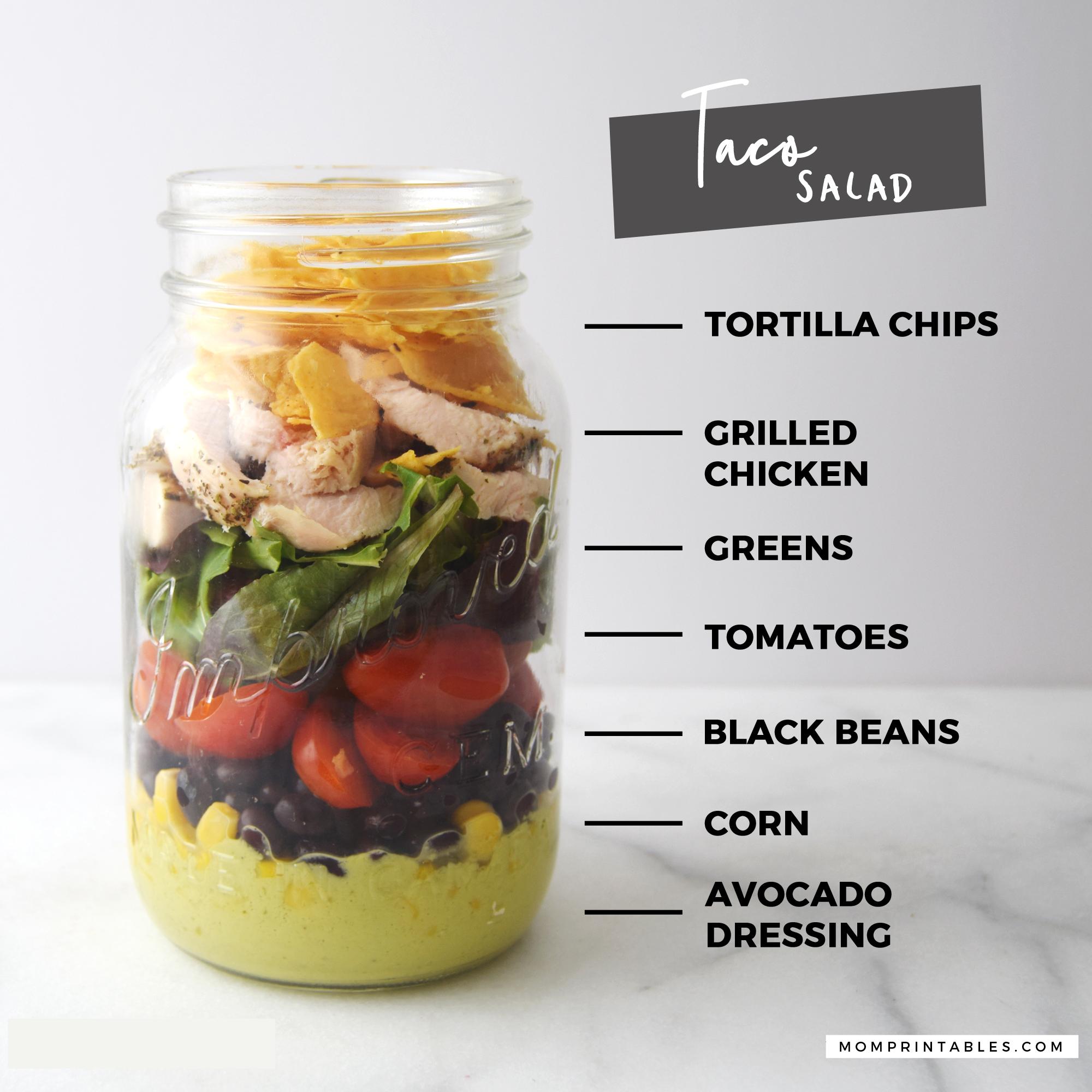Mason Jar Salad - Taco Salad