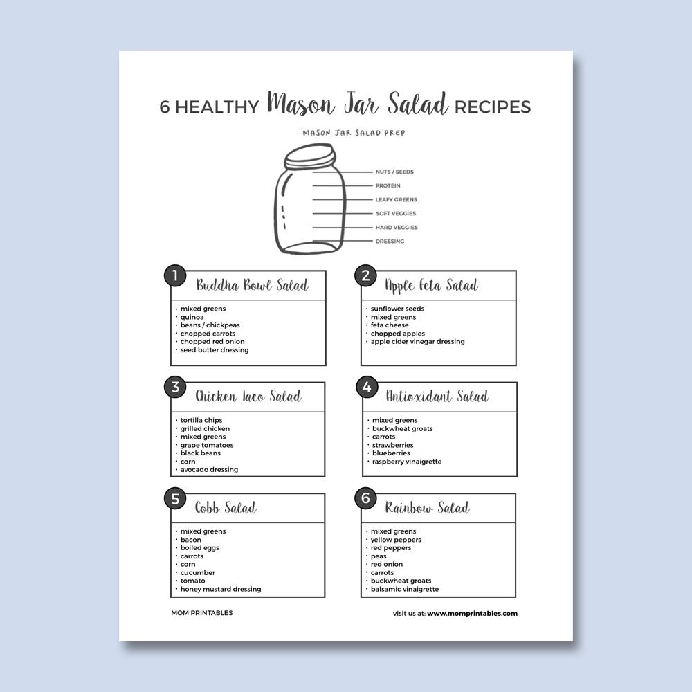 Mason Jar Salad Recipes - free printable