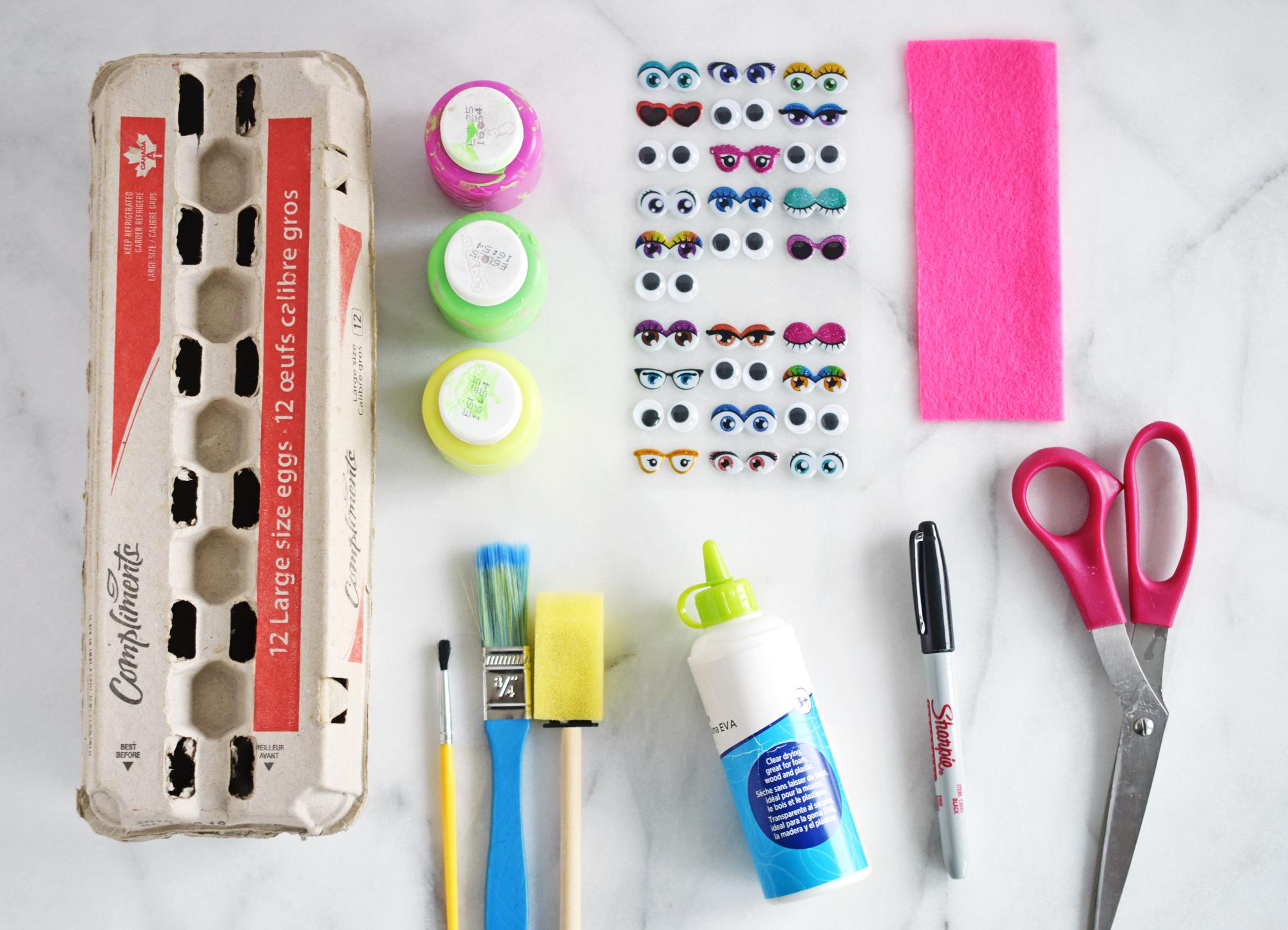 Egg Carton Snake Craft supplies