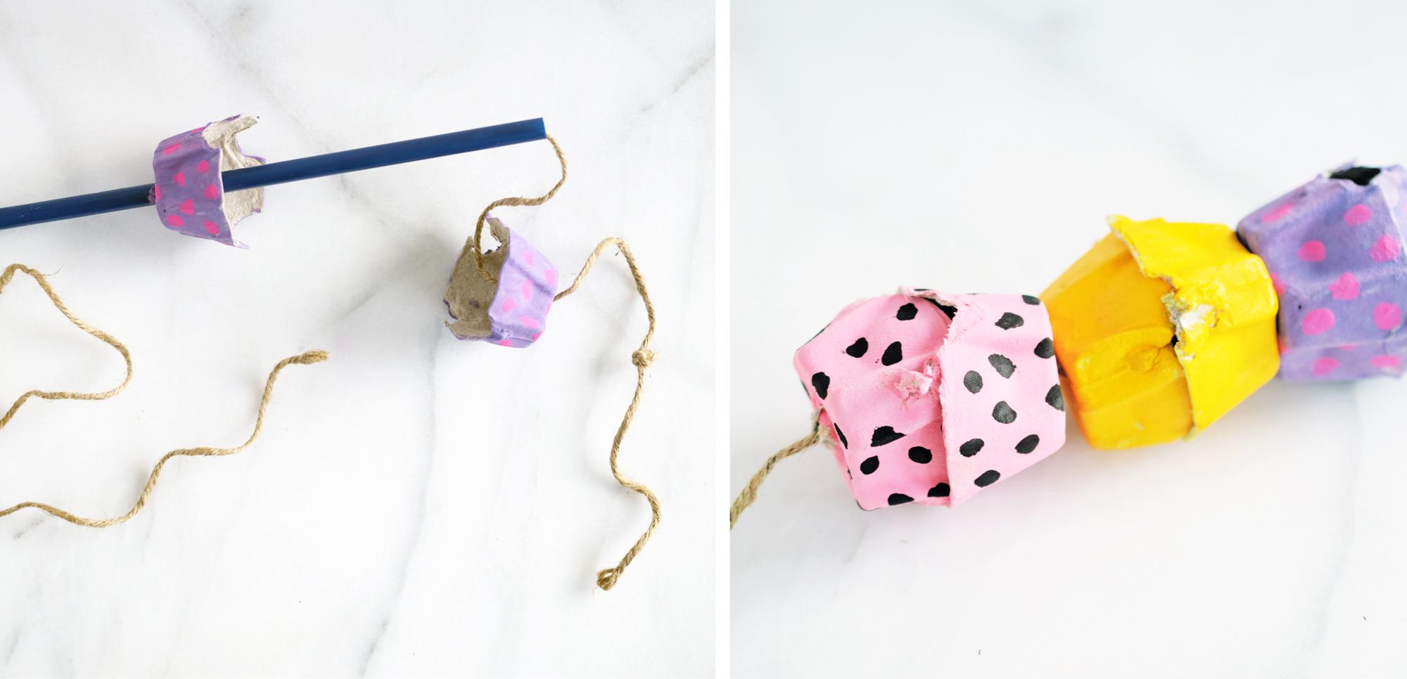 Egg Carton Snake Craft detail