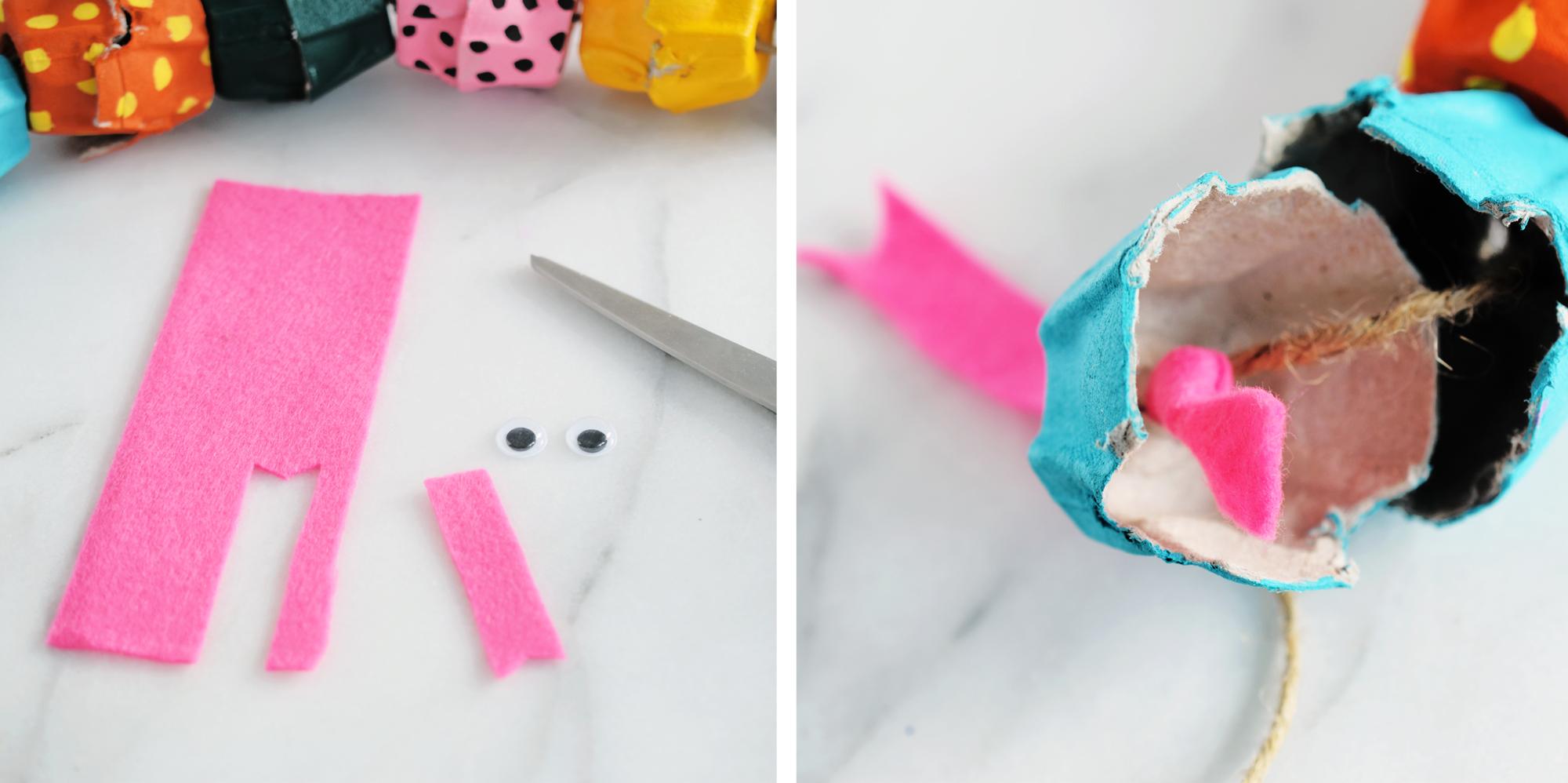 Egg Carton Snake Craft - making the face